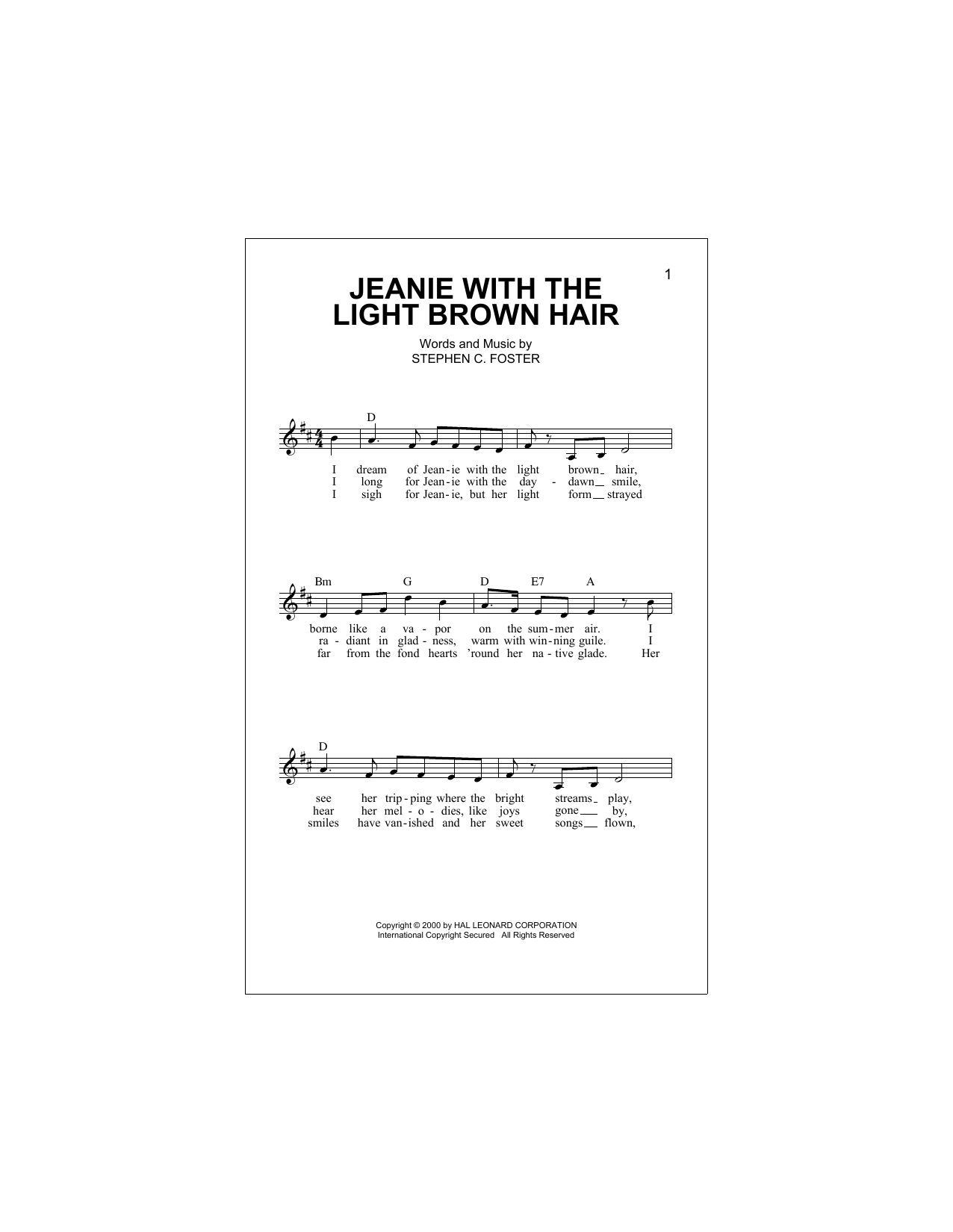 Jeanie With The Light Brown Hair Sheet Music