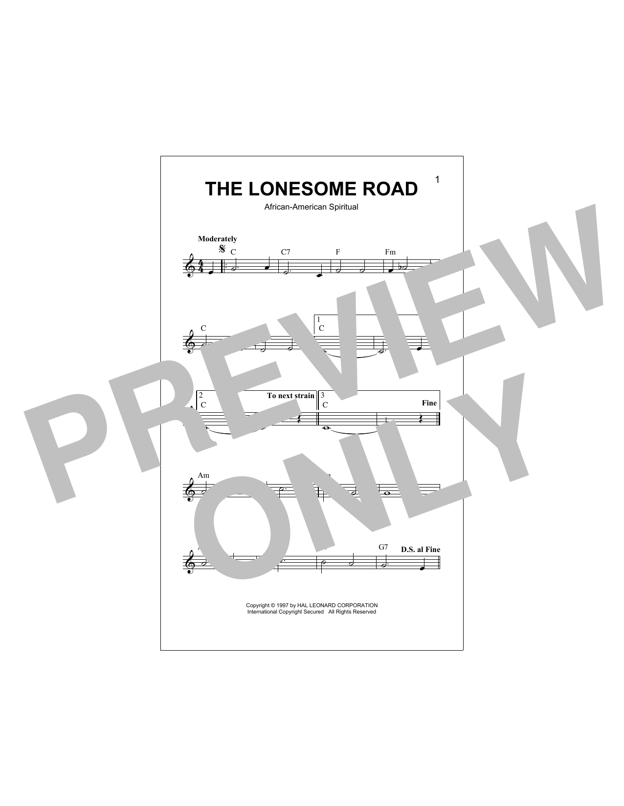 The Lonesome Road (Lead Sheet / Fake Book)