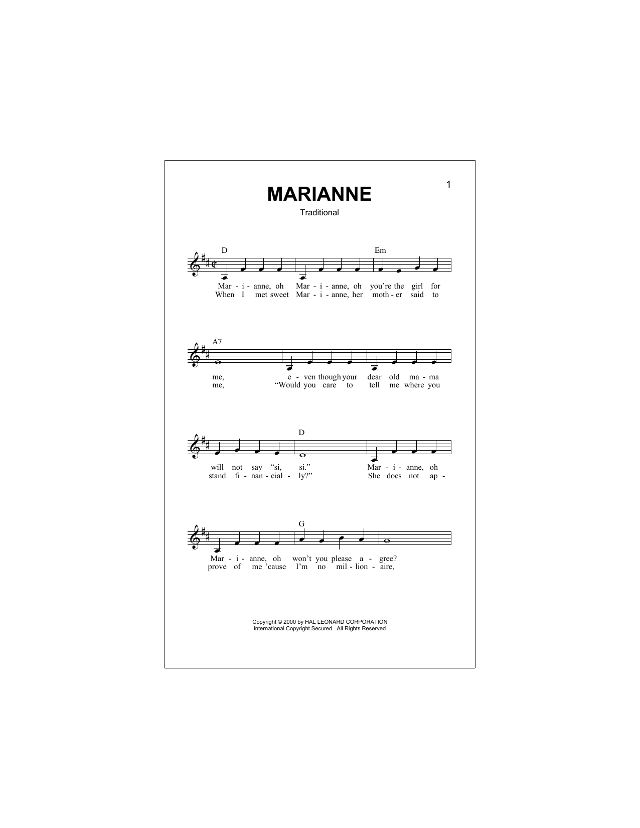 Marianne Sheet Music