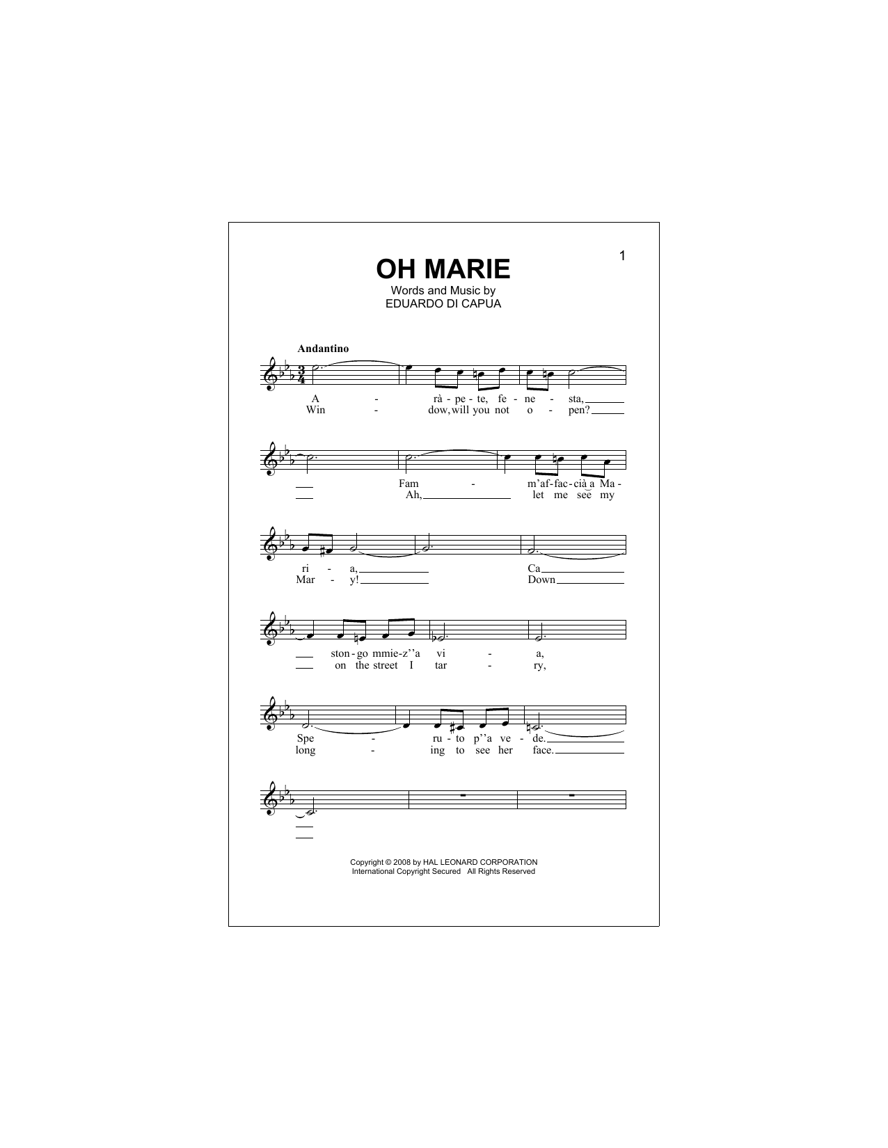 Oh Marie Sheet Music