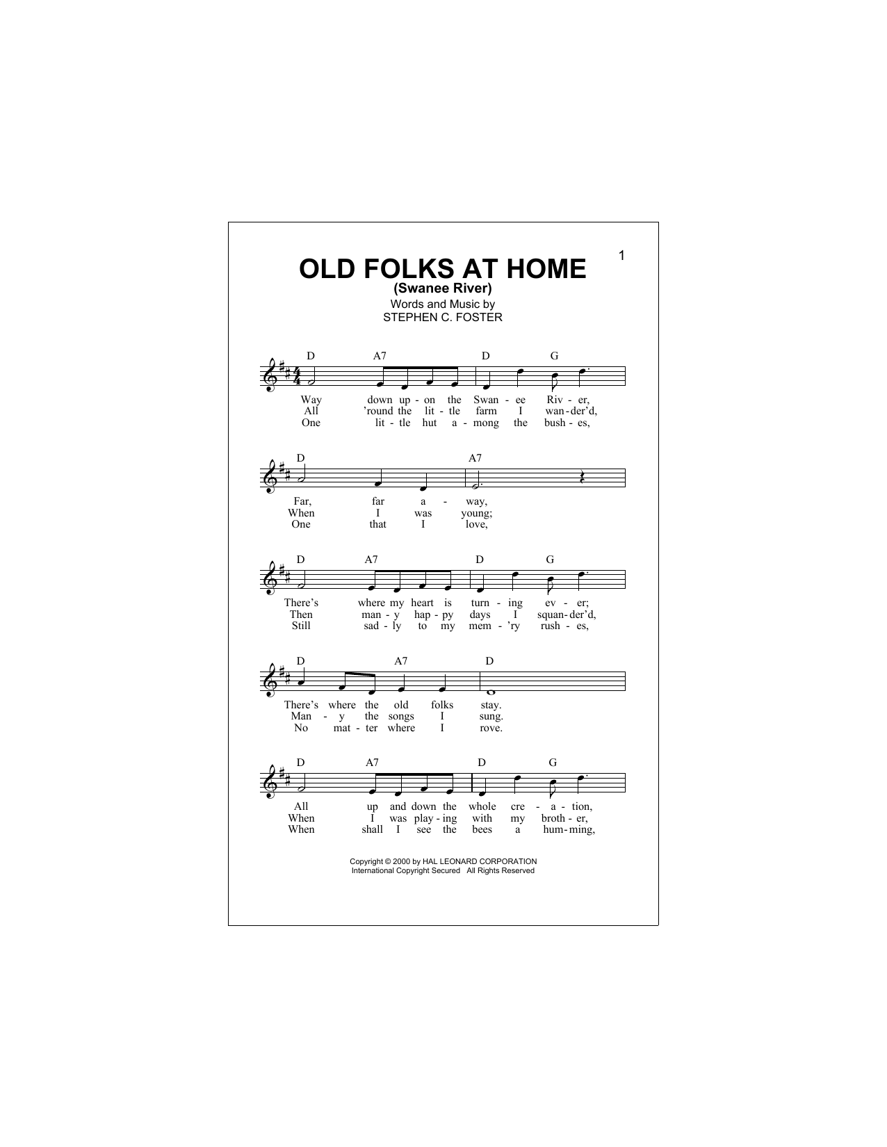Old Folks At Home (Swanee River) Sheet Music