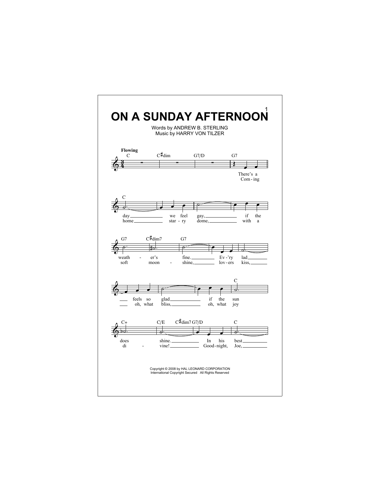 On A Sunday Afternoon (Lead Sheet / Fake Book)