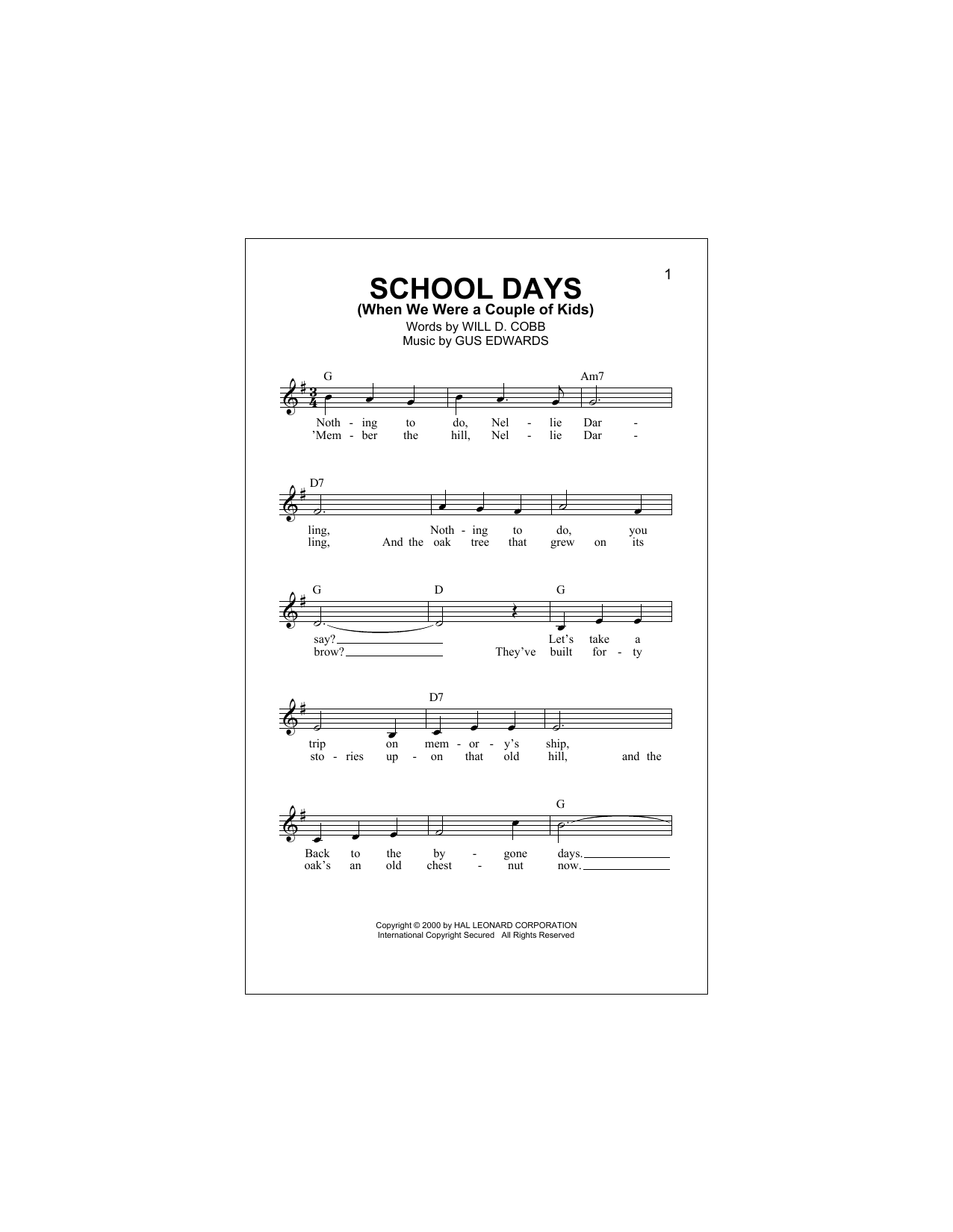 School Days (When We Were A Couple Of Kids) Sheet Music