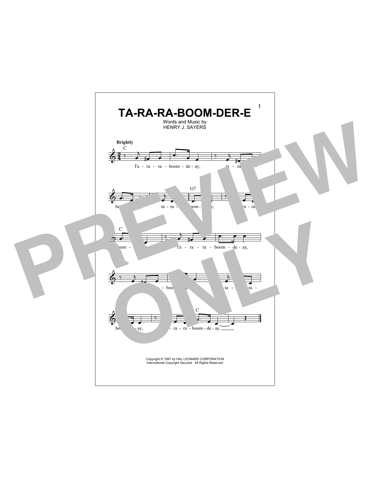 Ta-Ra-Ra-Boom-Der-E (Lead Sheet / Fake Book)