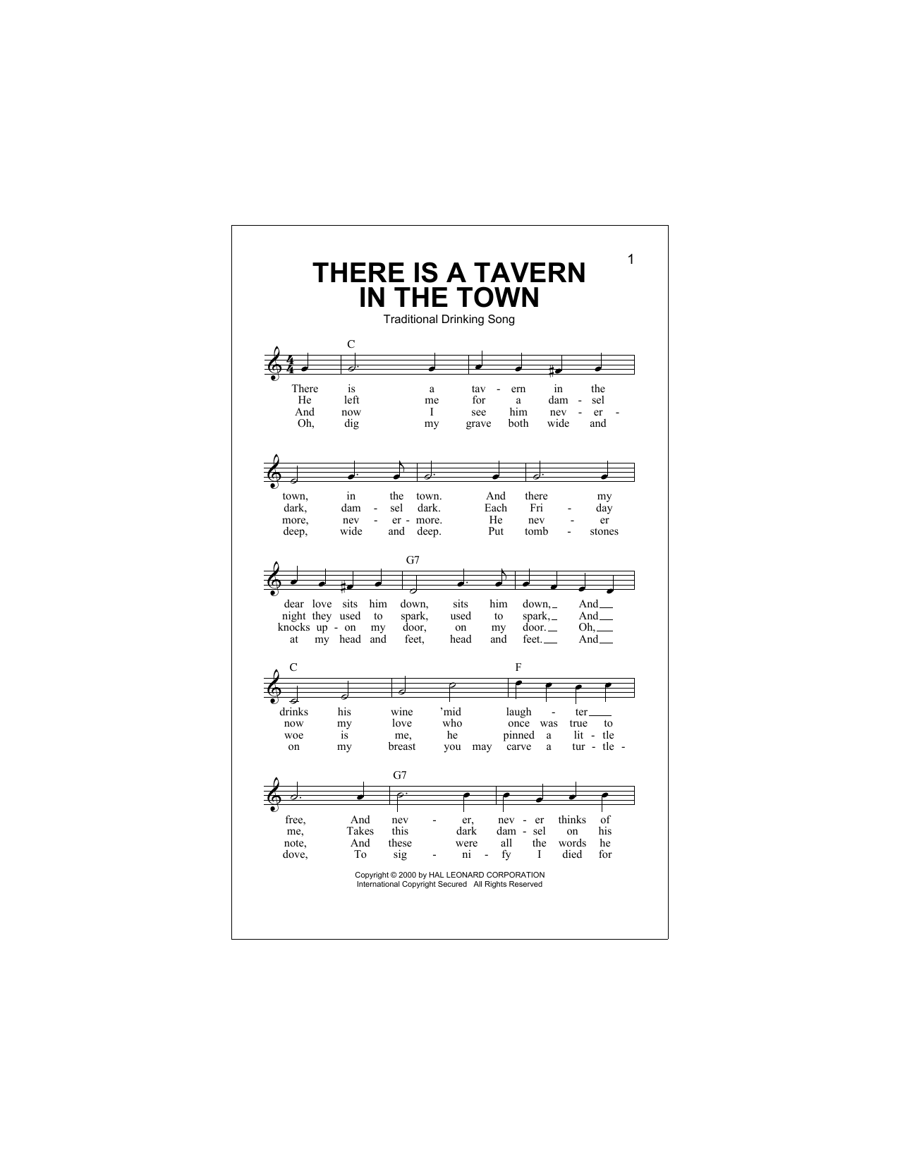 There Is A Tavern In The Town Sheet Music