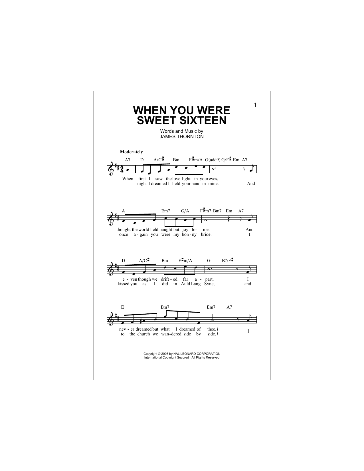 When You Were Sweet Sixteen Sheet Music