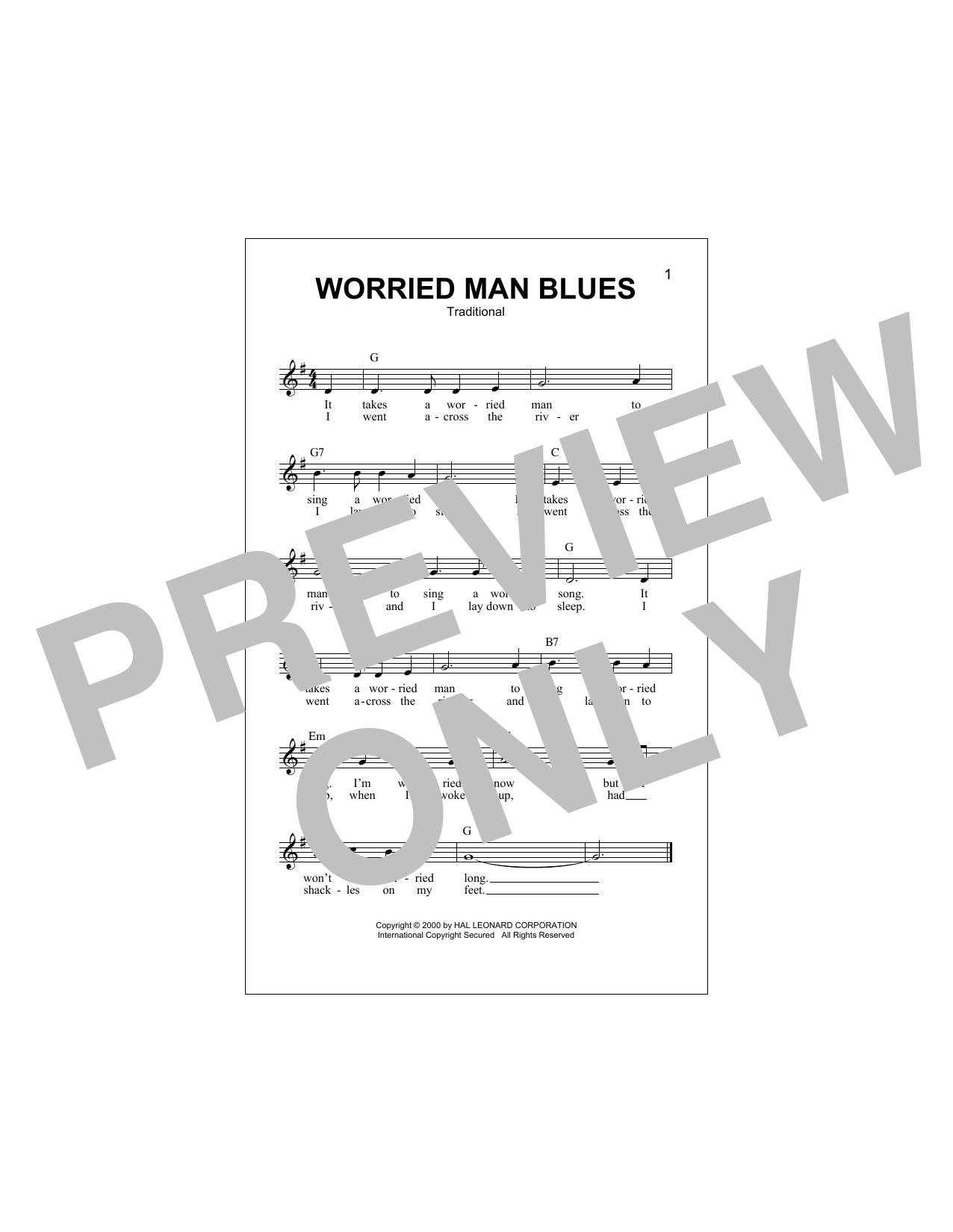 Worried Man Blues Sheet Music