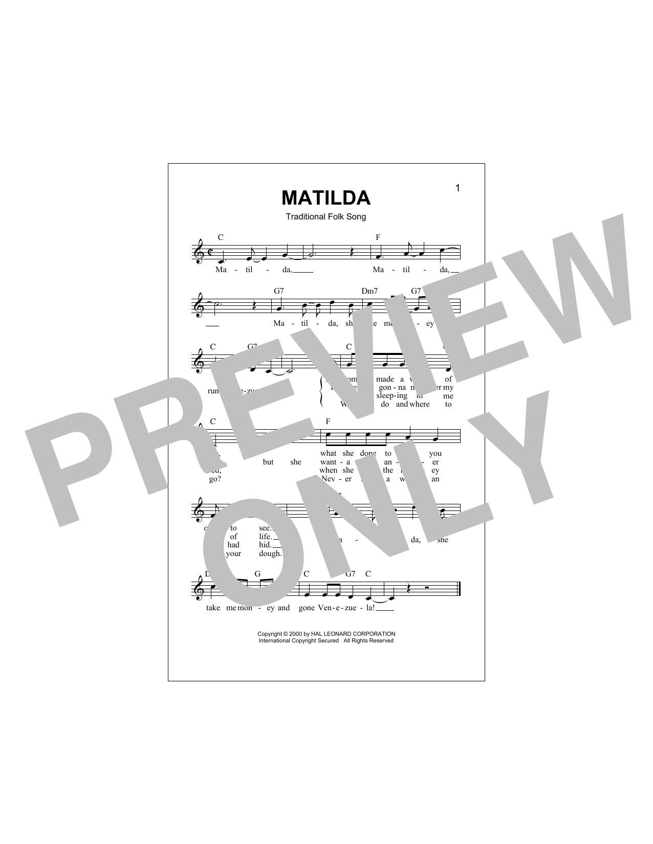 Matilda Sheet Music