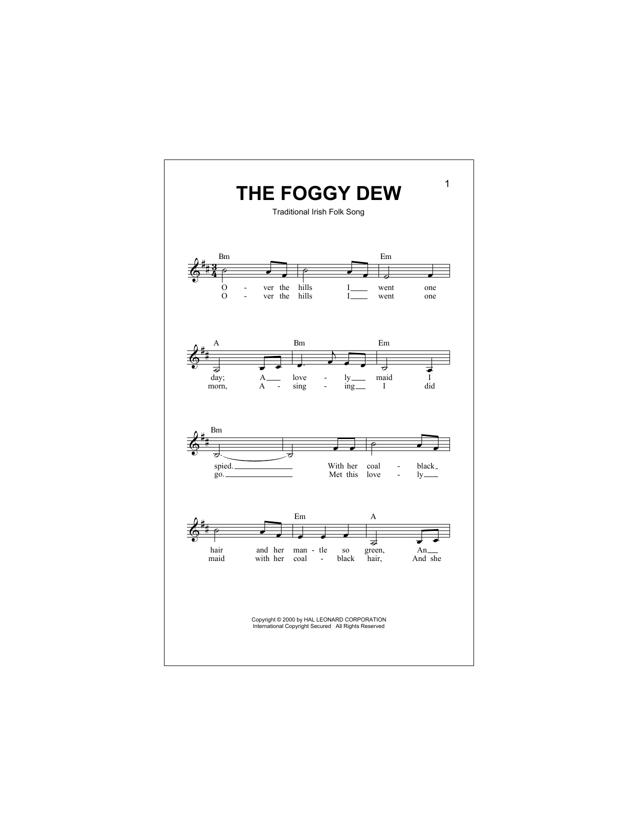 The Foggy Dew Sheet Music
