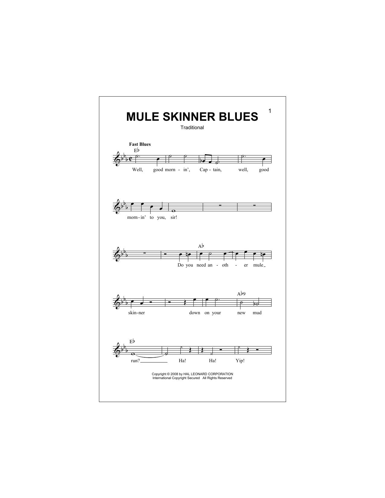 Mule Skinner Blues Partituras Digitales