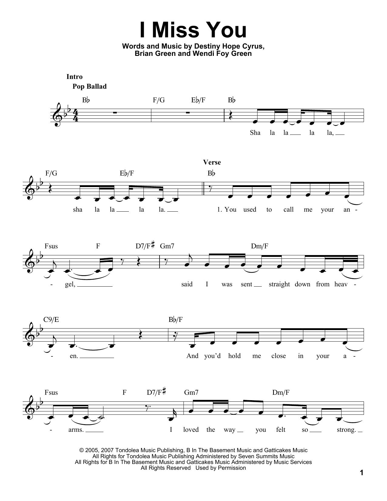 I Miss You Sheet Music