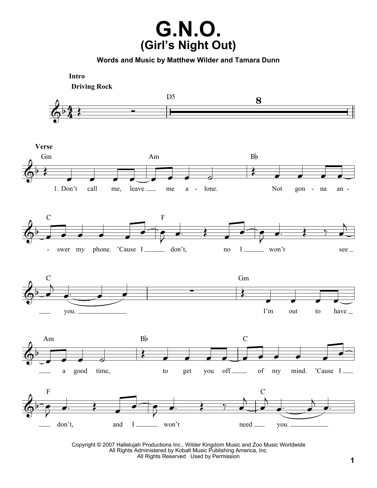 G.N.O. (Girl's Night Out) Sheet Music