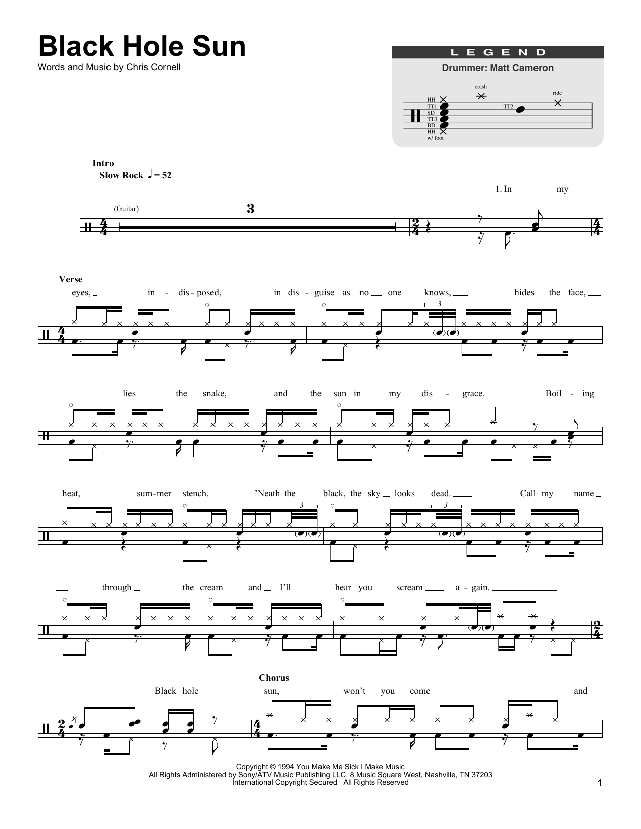 Soundgarden - Black Hole Sun sheet music