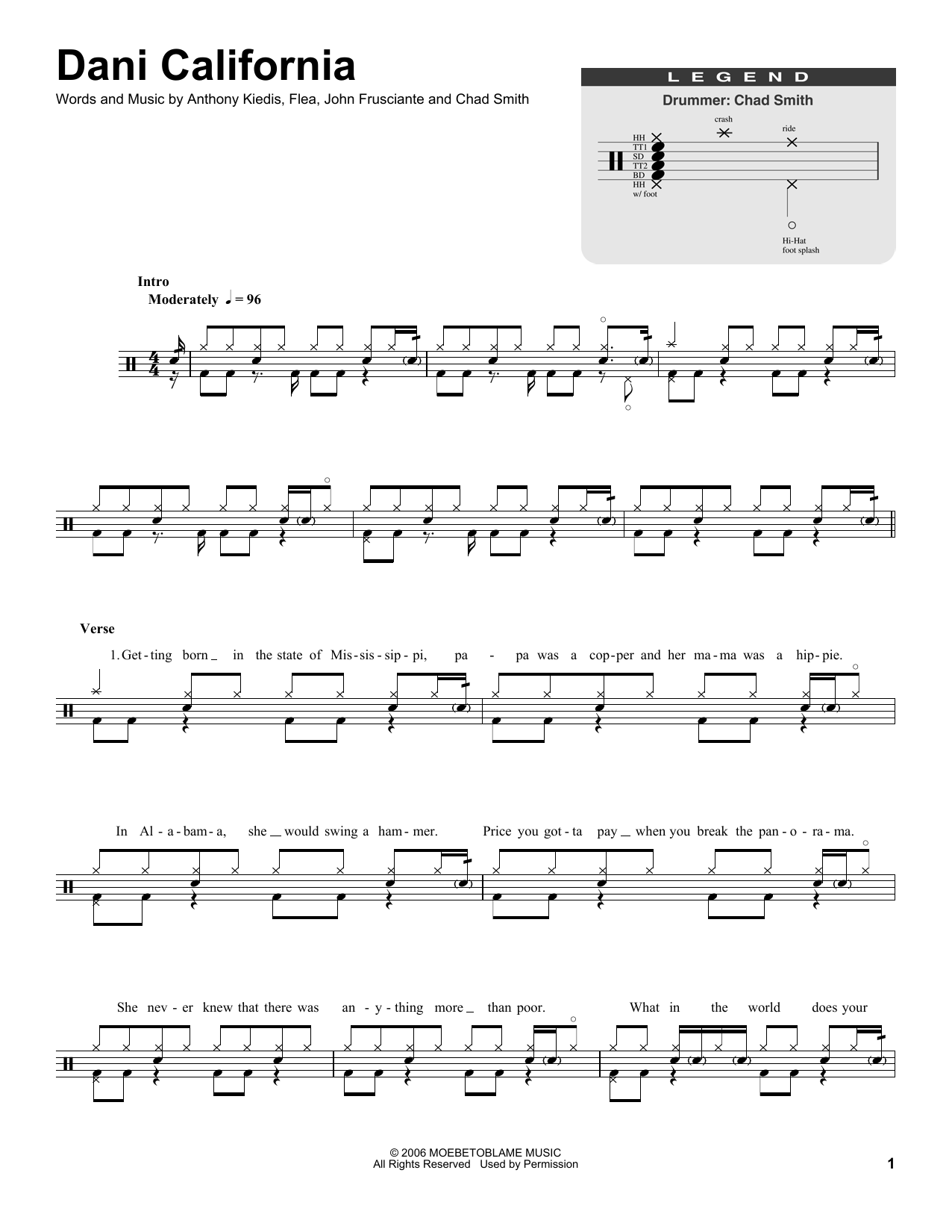Dani California Sheet Music