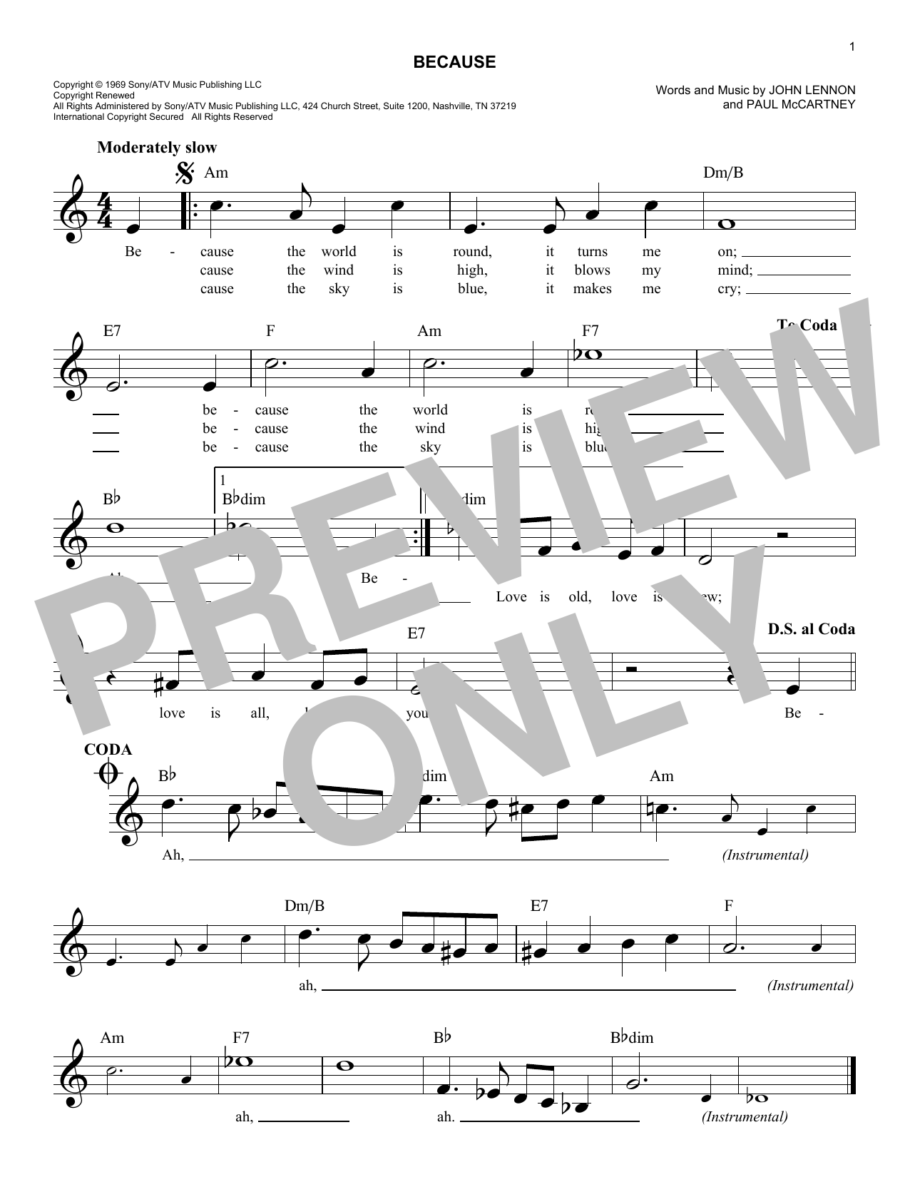 Because chords by the beatles melody line lyrics chords 179680 because sheet music hexwebz Images