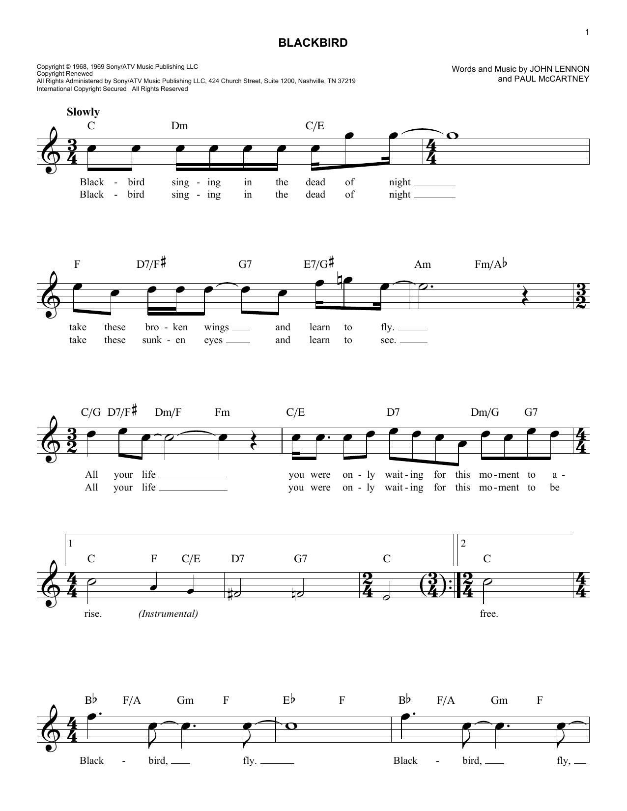 Blackbird chords by the beatles melody line lyrics chords blackbird sheet music hexwebz Images