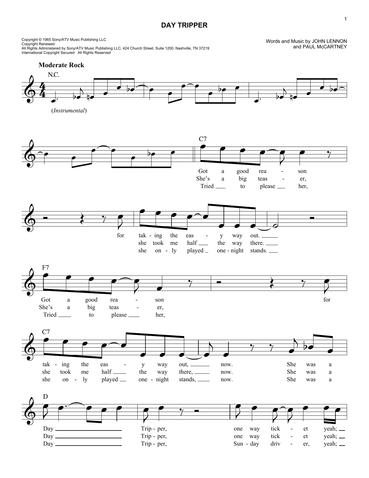 Day tripper chords by the beatles melody line lyrics chords day tripper sheet music hexwebz Image collections