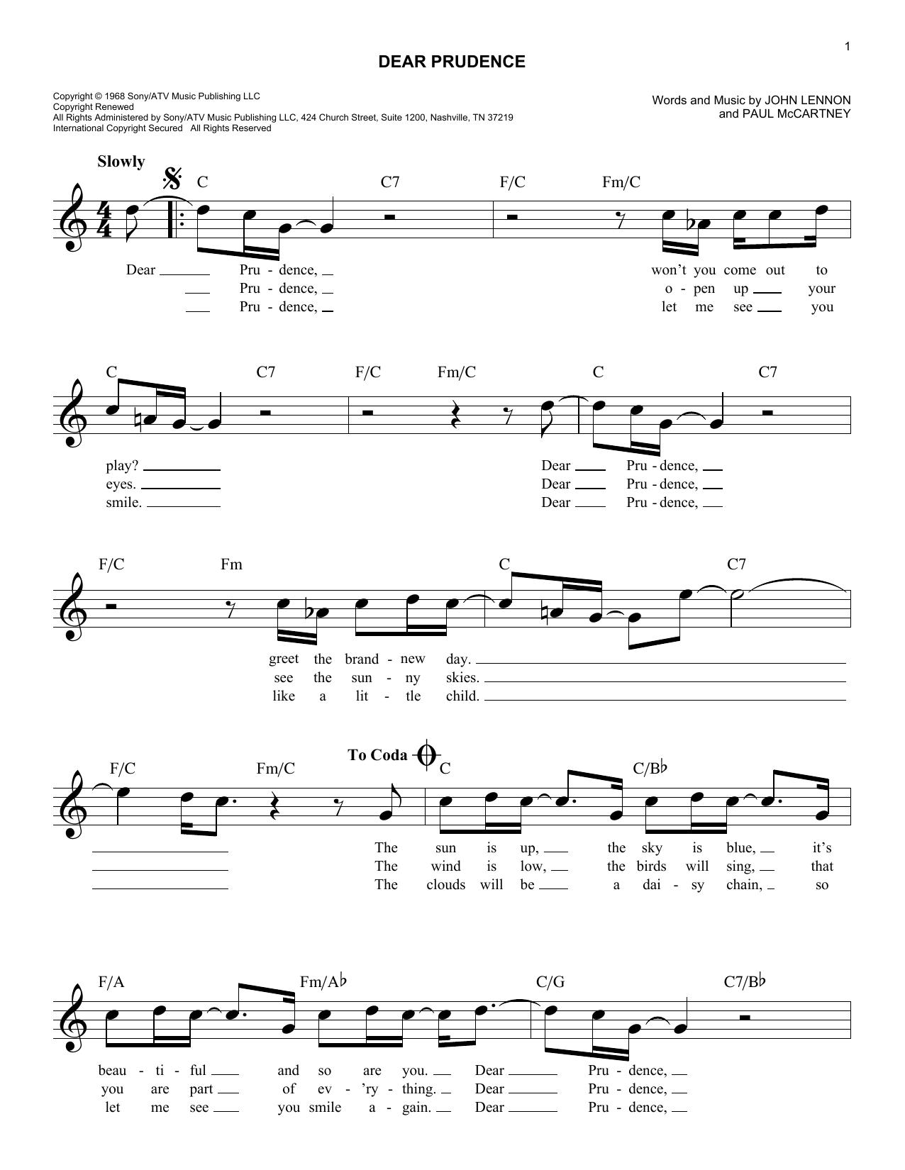 Dear Prudence Sheet Music