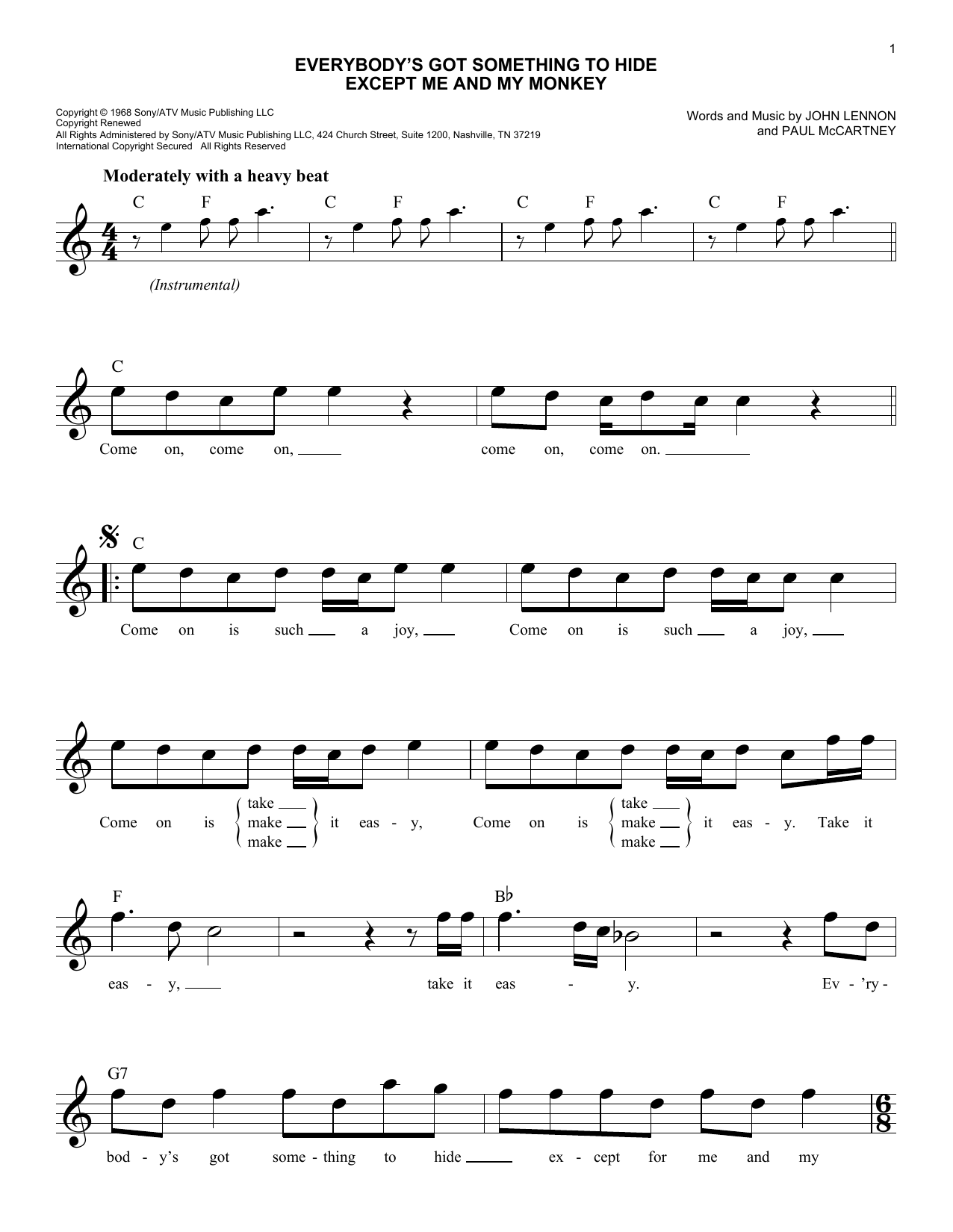 Everybody's Got Something To Hide Except Me And My Monkey Sheet Music