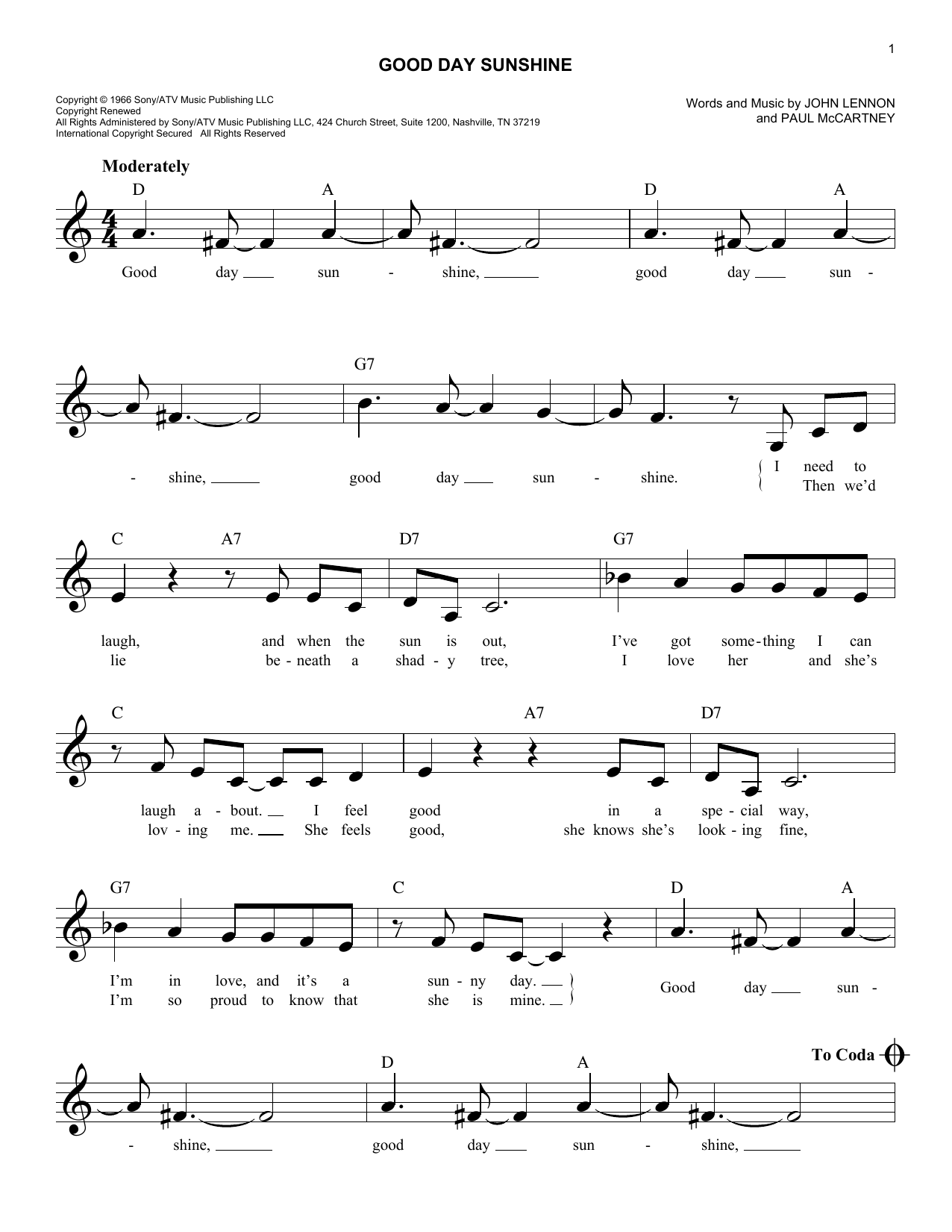 Good Day Sunshine Sheet Music