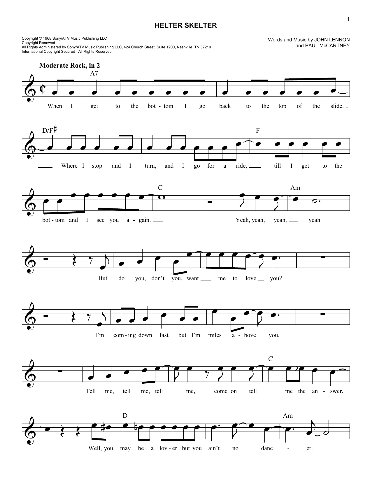 Helter skelter chords by the beatles melody line lyrics chords helter skelter sheet music hexwebz Image collections