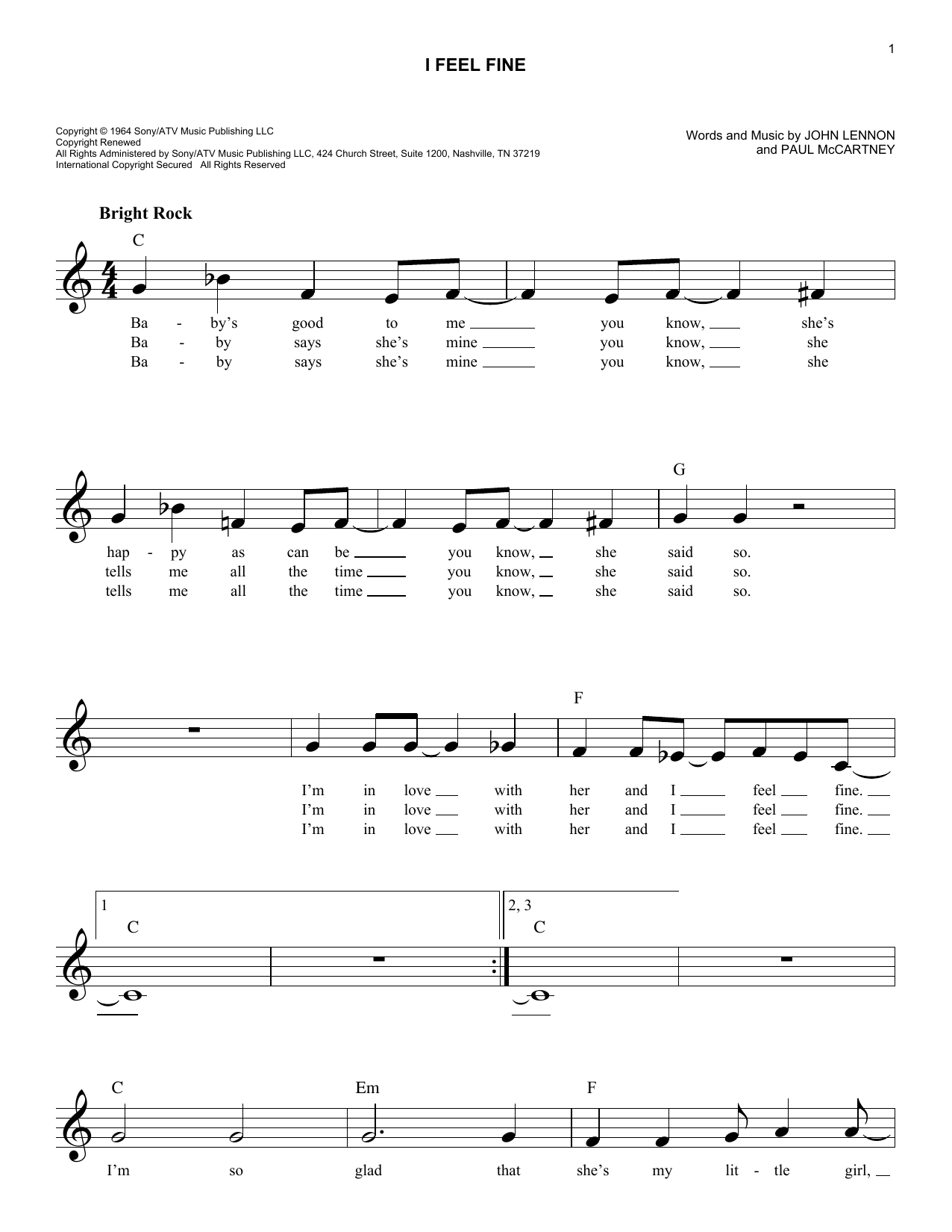 I feel fine chords by the beatles melody line lyrics chords i feel fine sheet music hexwebz Images