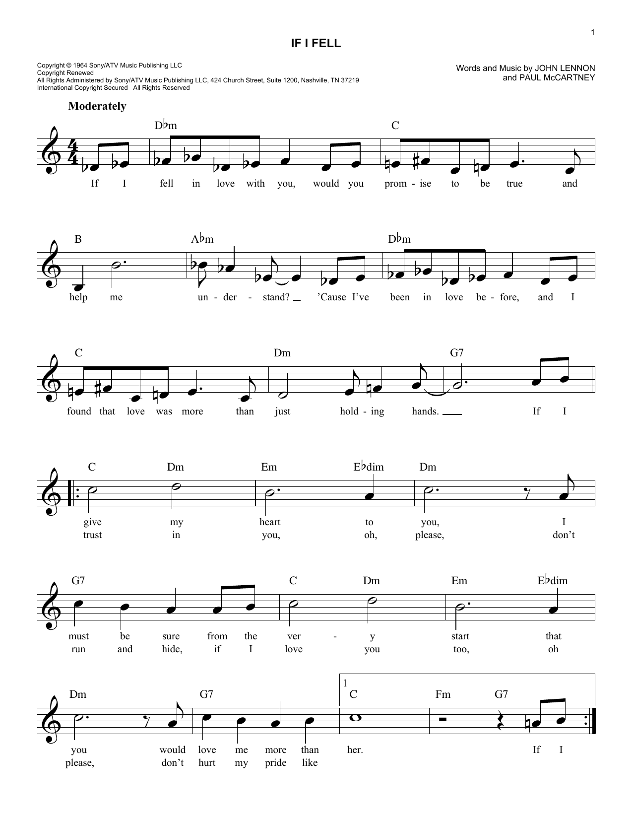 If I Fell (Lead Sheet / Fake Book)