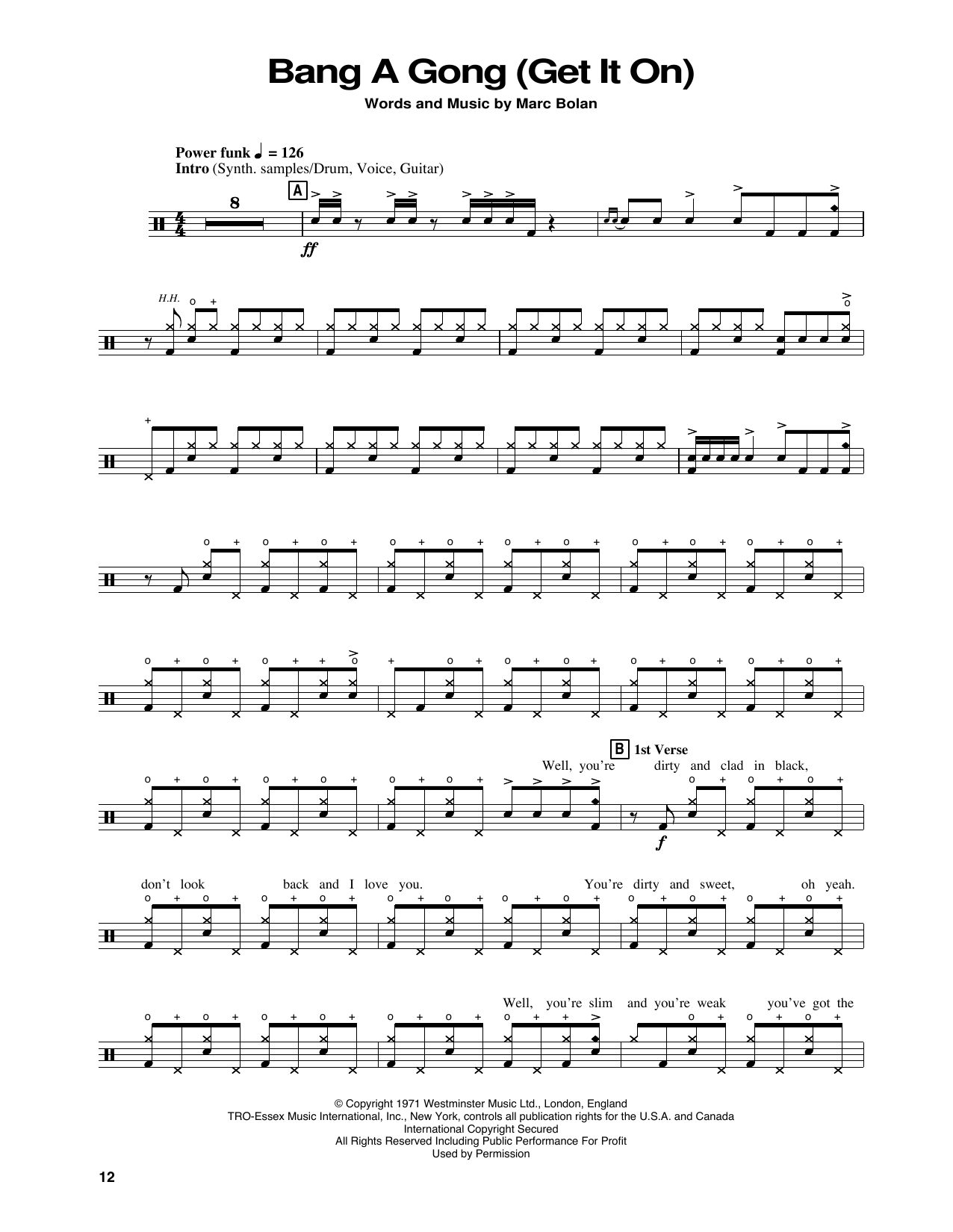 Bang A Gong (Get It On) (Drums Transcription)