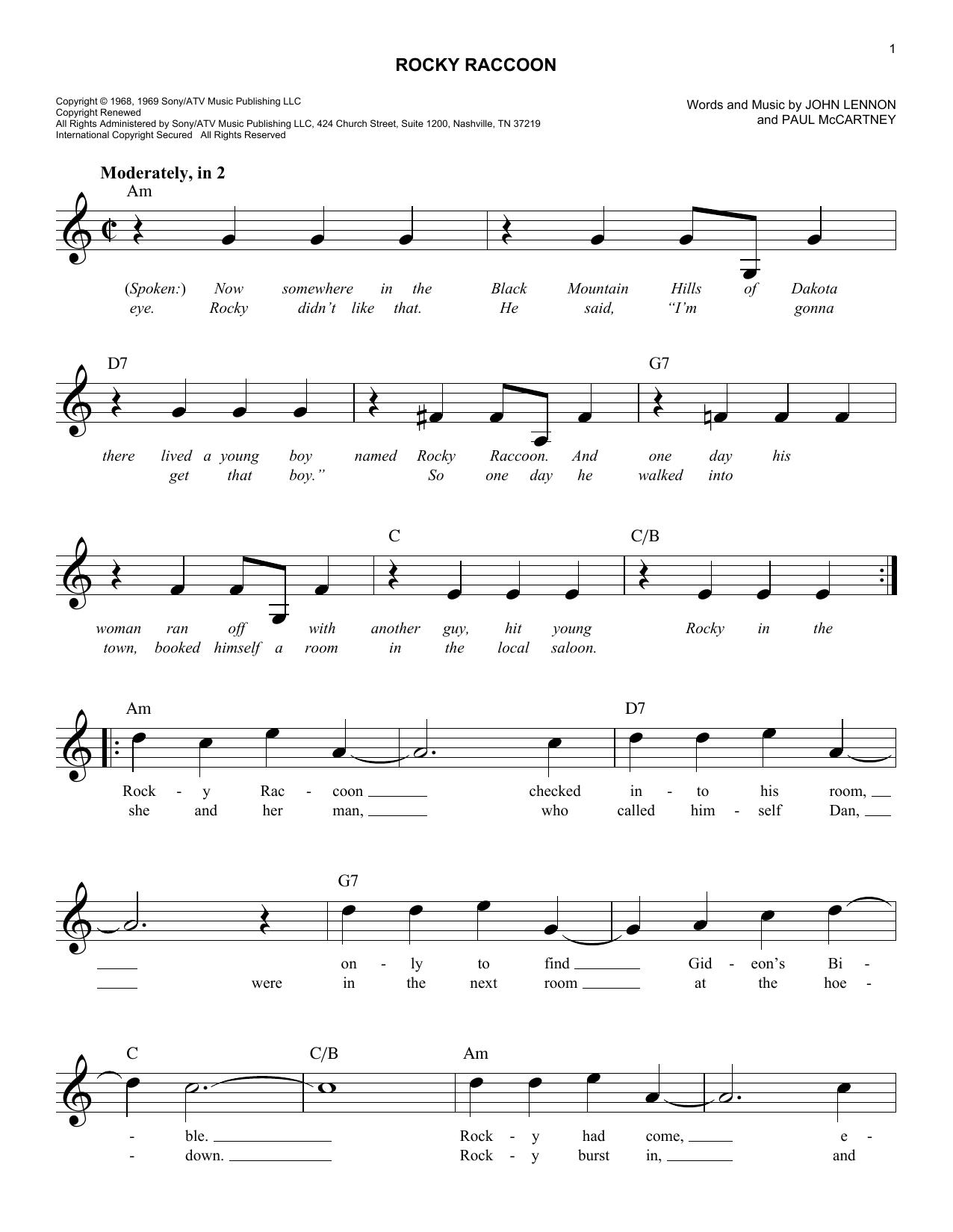 Rocky Raccoon Sheet Music The Beatles Melody Line Lyrics Chords