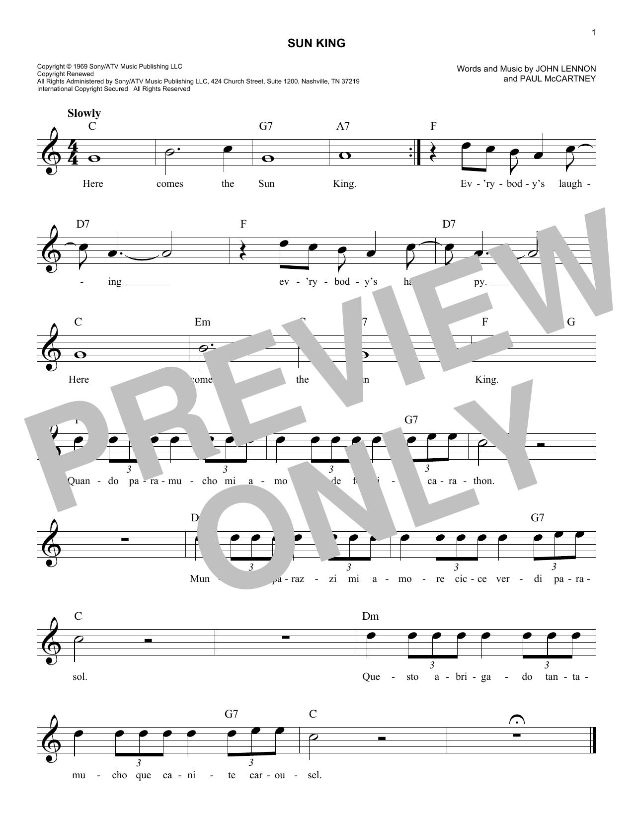Sun King Sheet Music