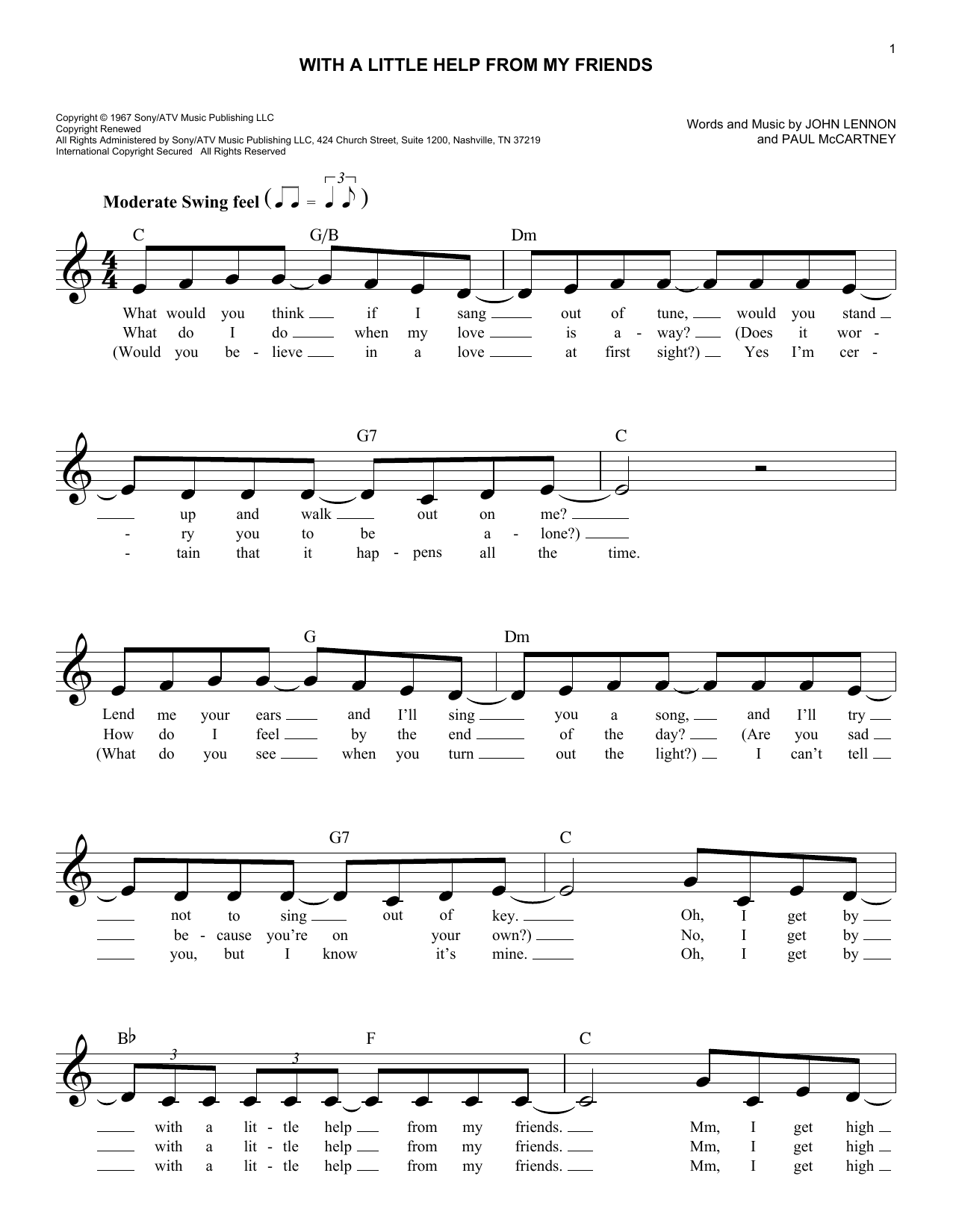 With a little help from my friends chords by the beatles melody the beatles with a little help from my friends melody line lyrics chords hexwebz Choice Image