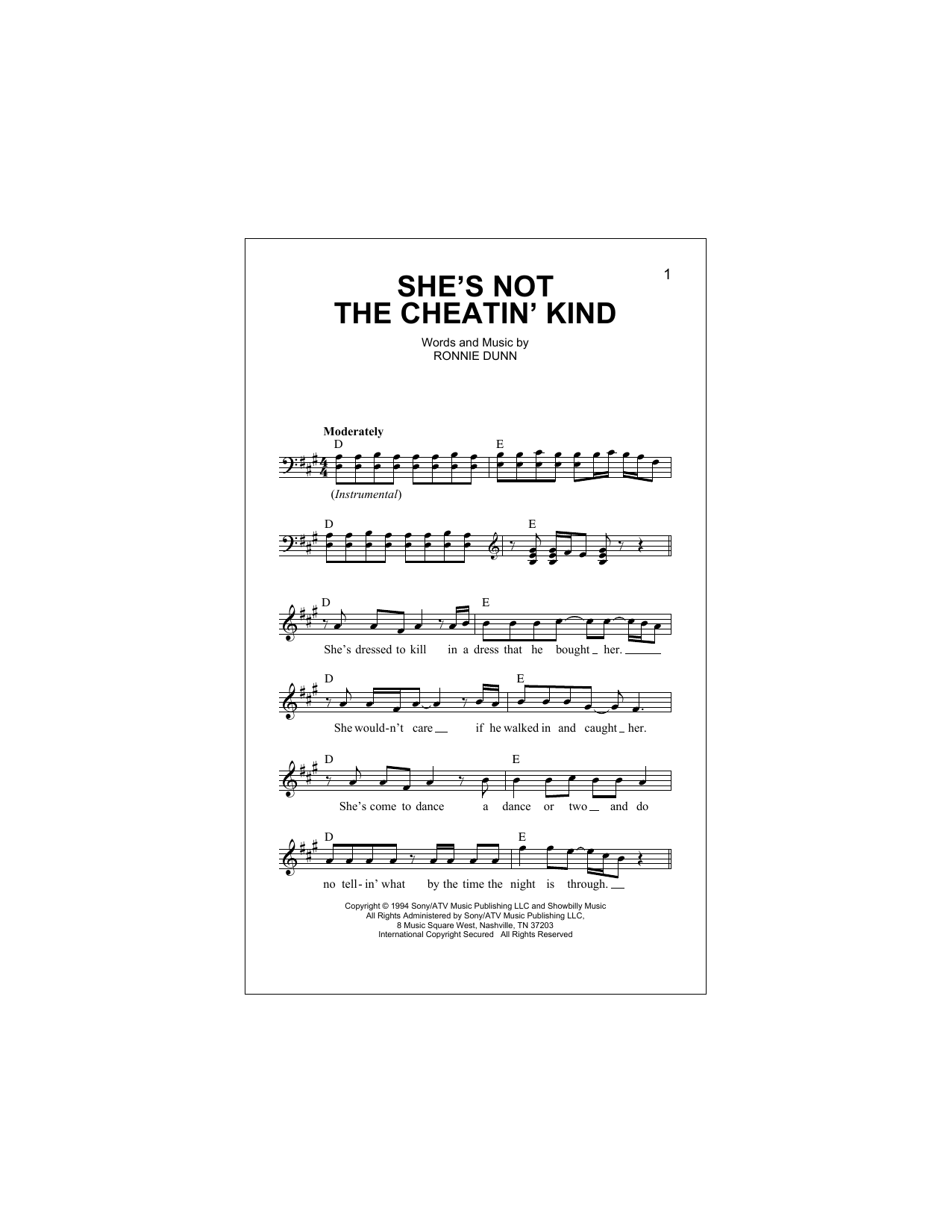 She's Not The Cheatin' Kind Sheet Music