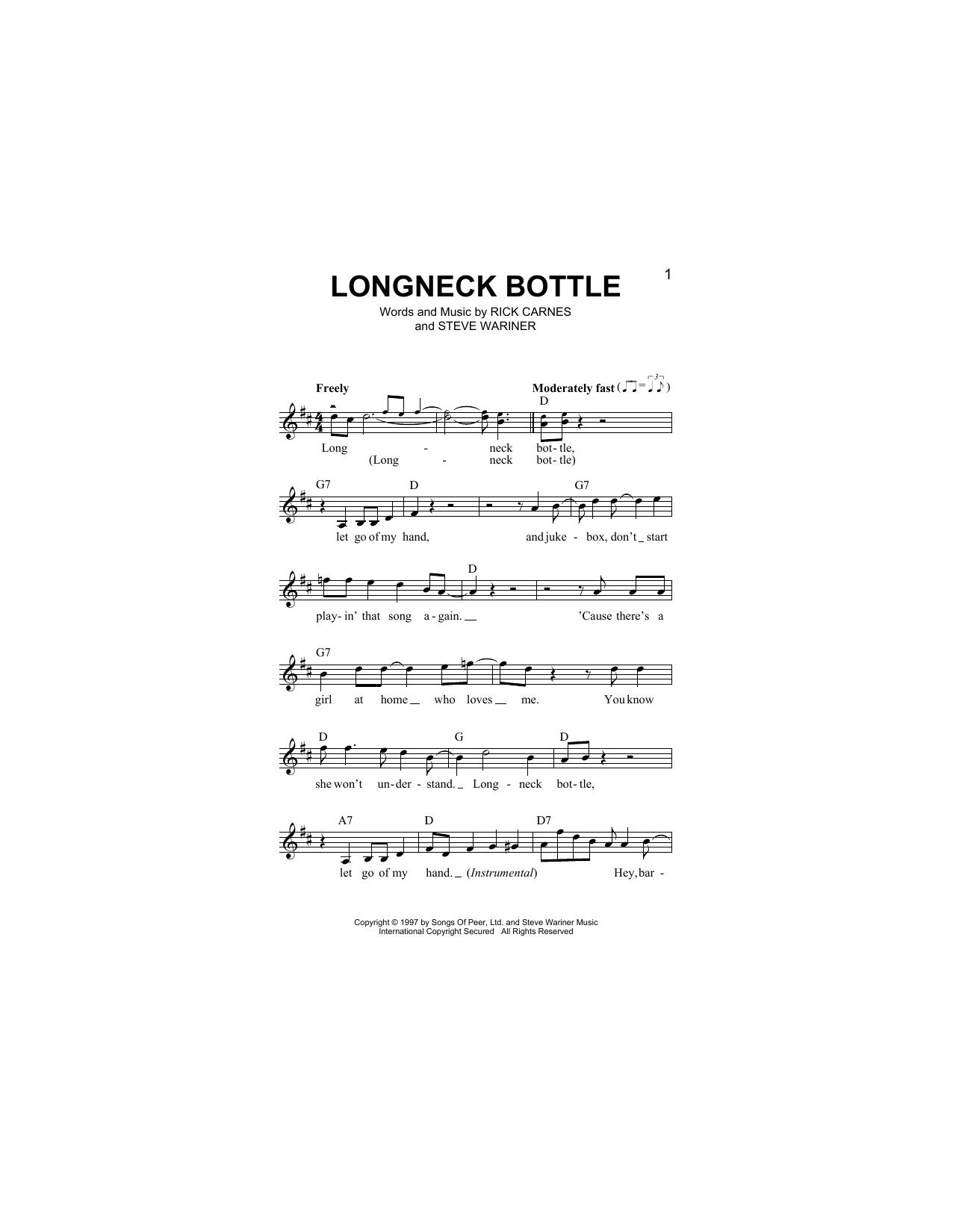 Longneck Bottle (Lead Sheet / Fake Book)