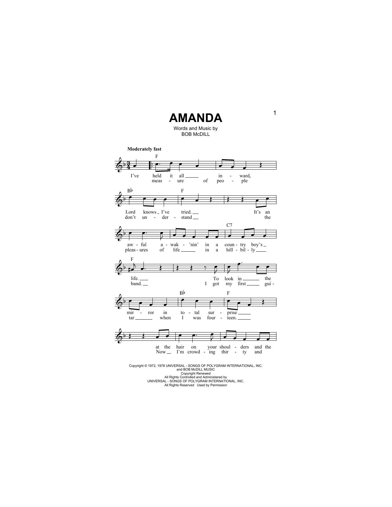 Amanda (Lead Sheet / Fake Book)
