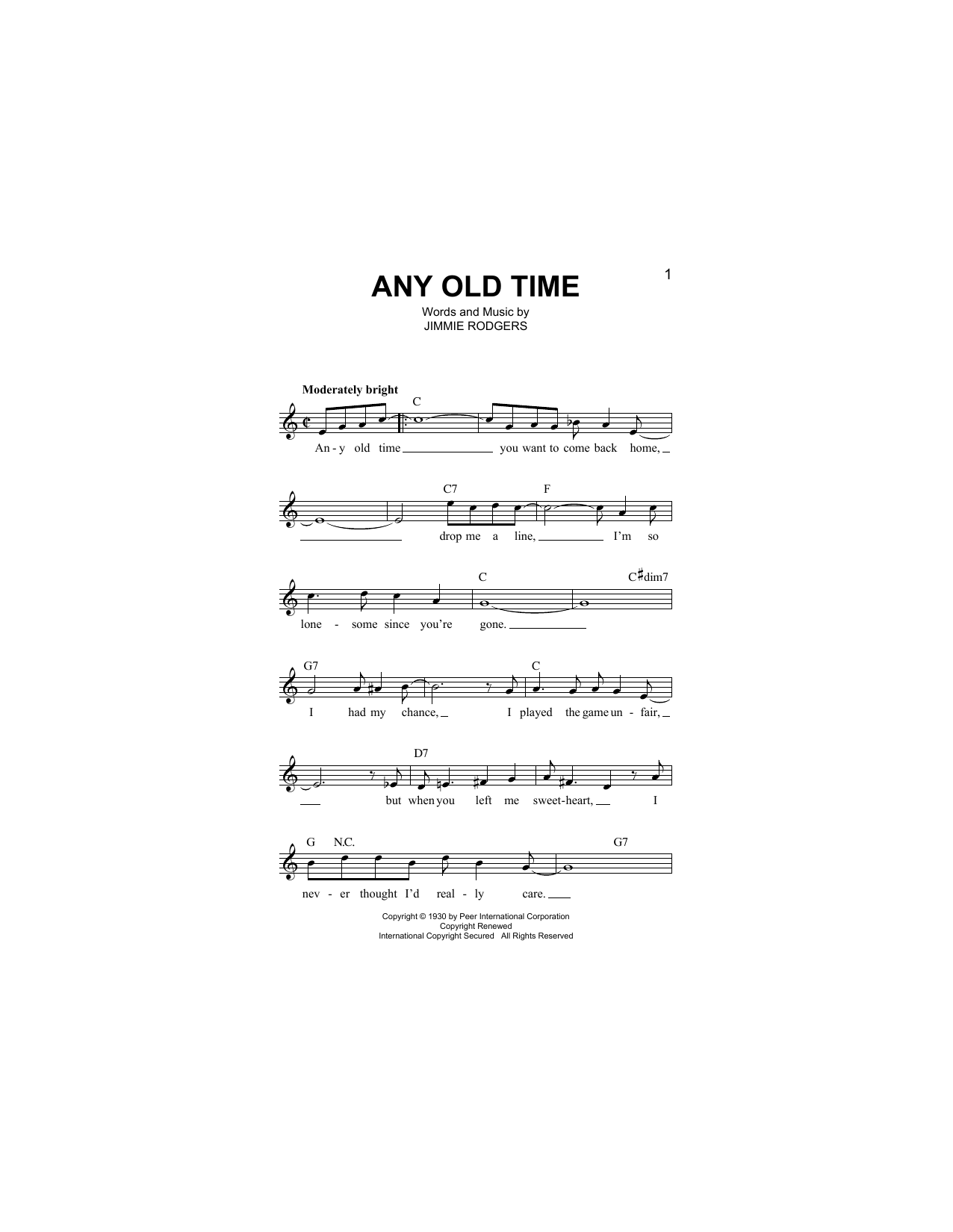 Any Old Time Sheet Music