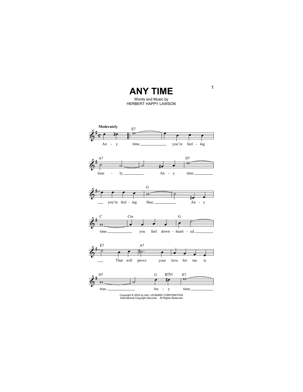 Any Time (Lead Sheet / Fake Book)