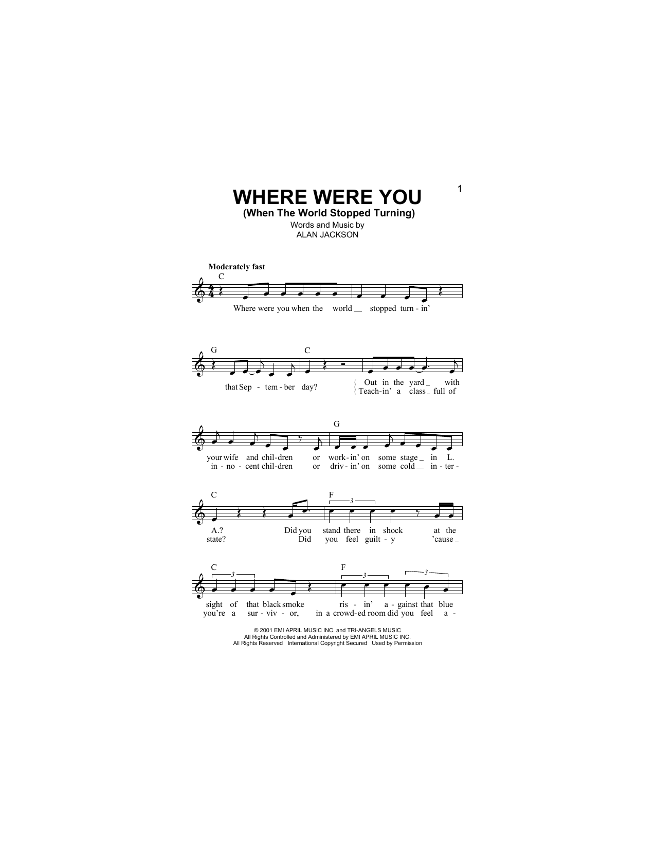 Where Were You (When The World Stopped Turning) Sheet Music