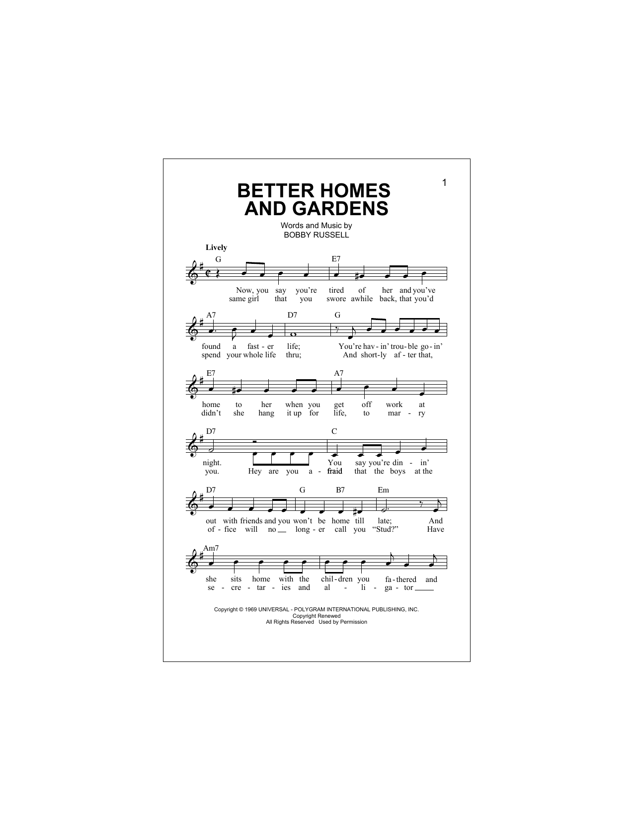 Better Homes And Gardens Sheet Music
