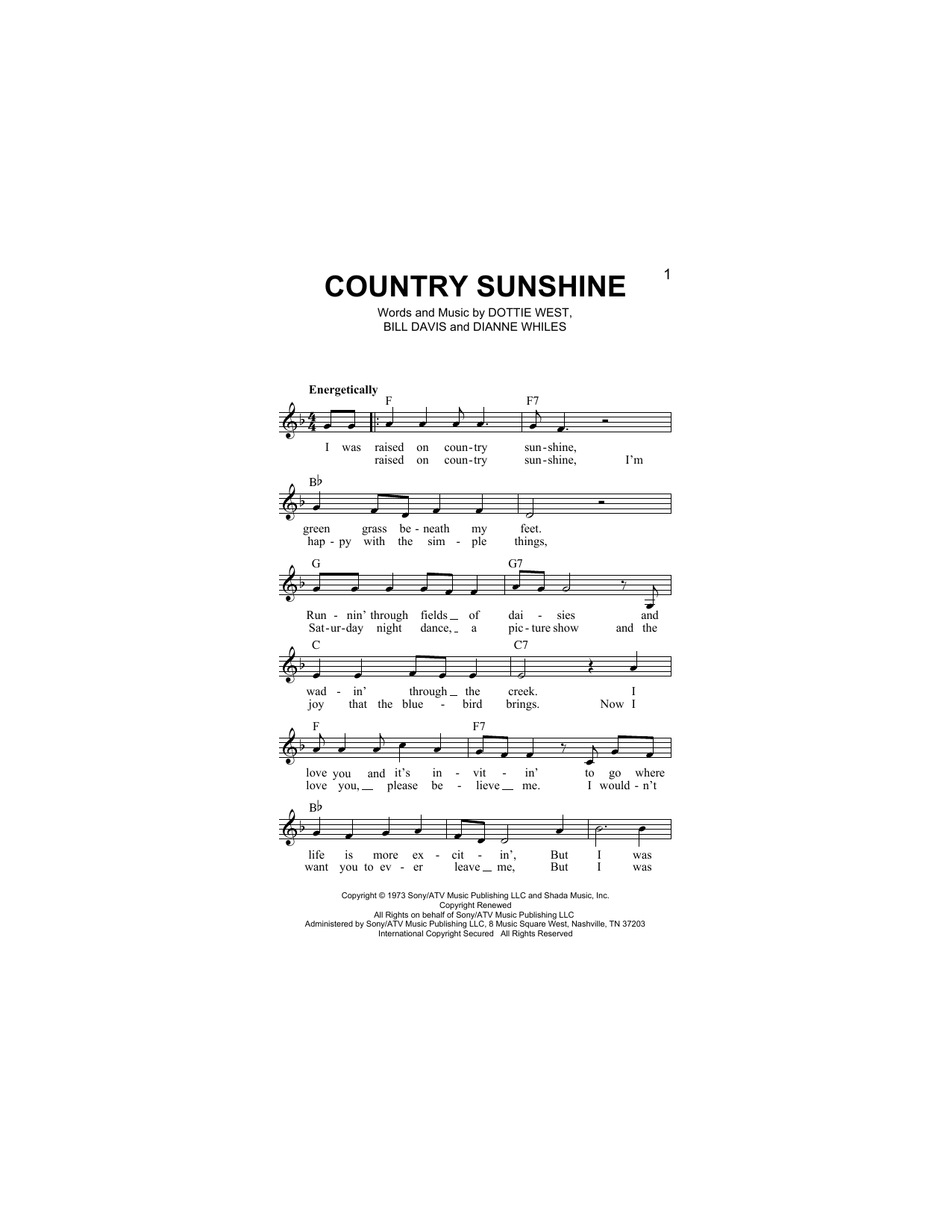 Country Sunshine Sheet Music