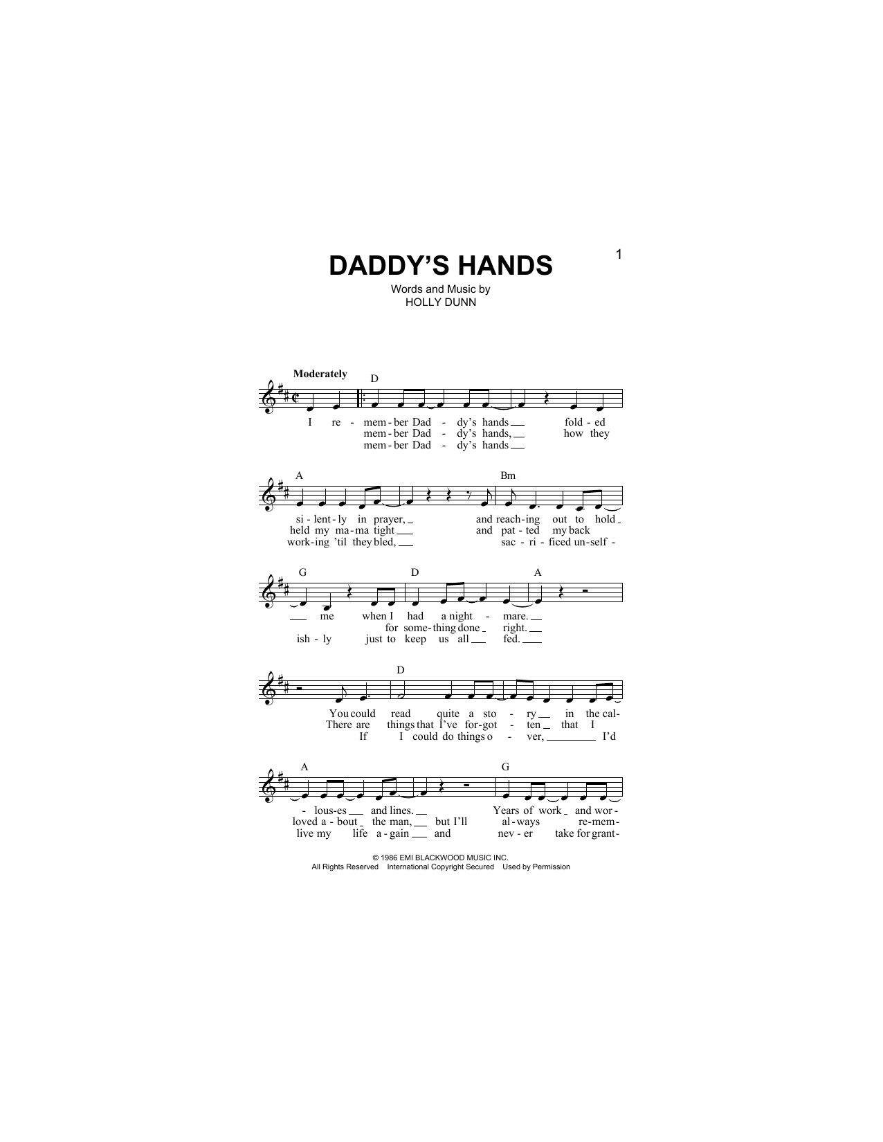Daddy's Hands Sheet Music