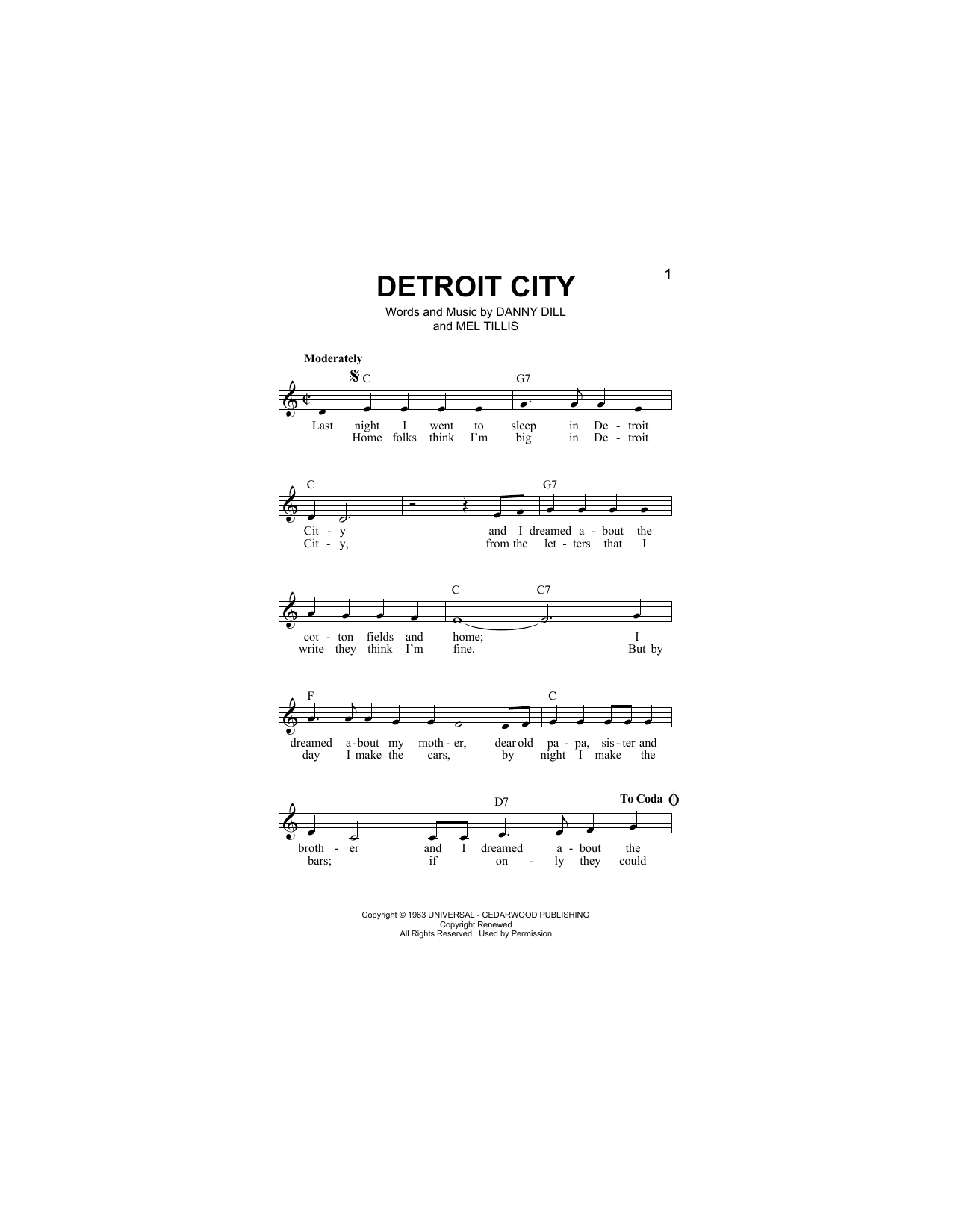 Detroit City (Lead Sheet / Fake Book)