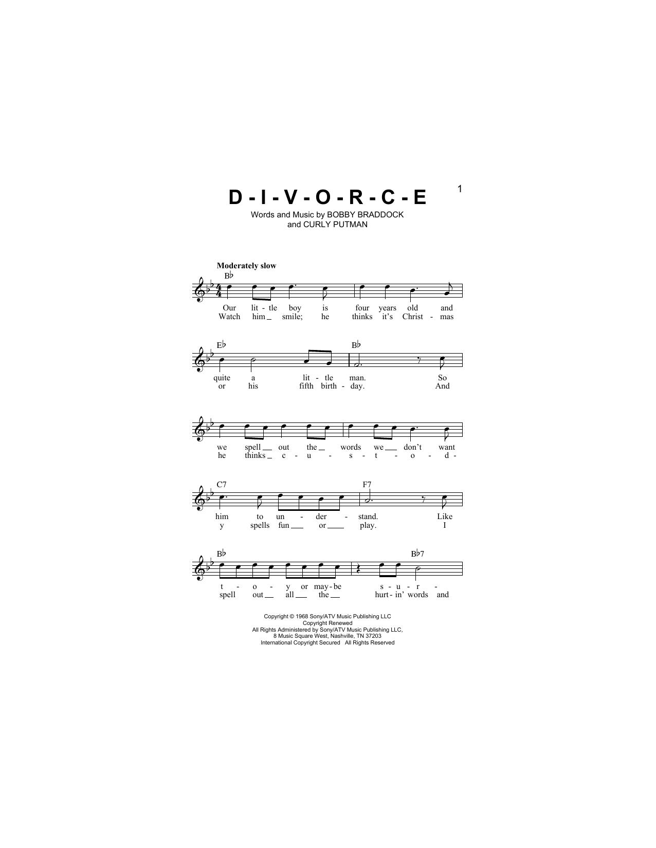 D-I-V-O-R-C-E Sheet Music