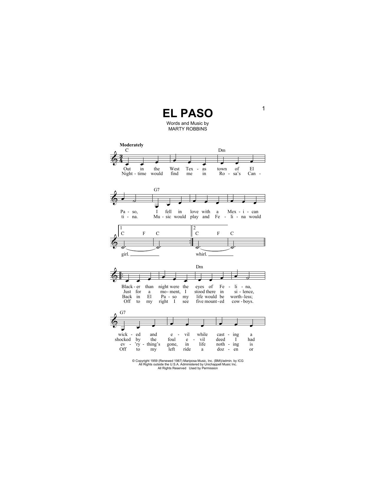 El Paso (Lead Sheet / Fake Book)