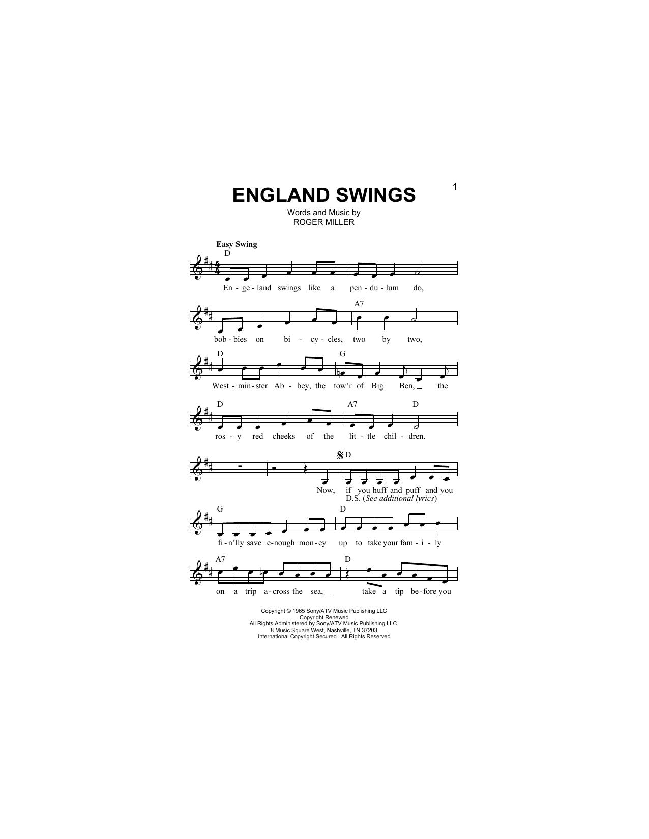 England Swings Sheet Music