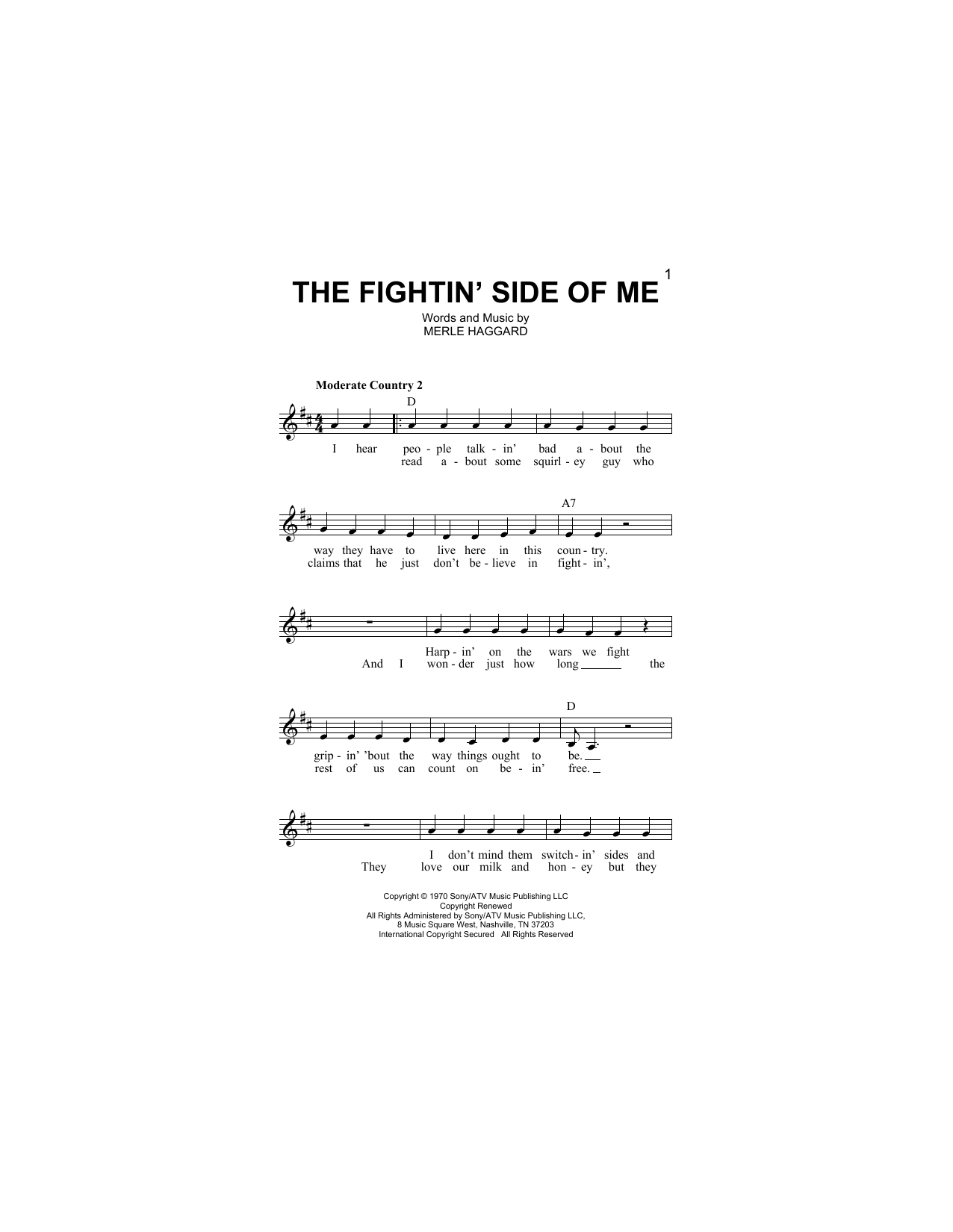 The Fightin' Side Of Me Sheet Music