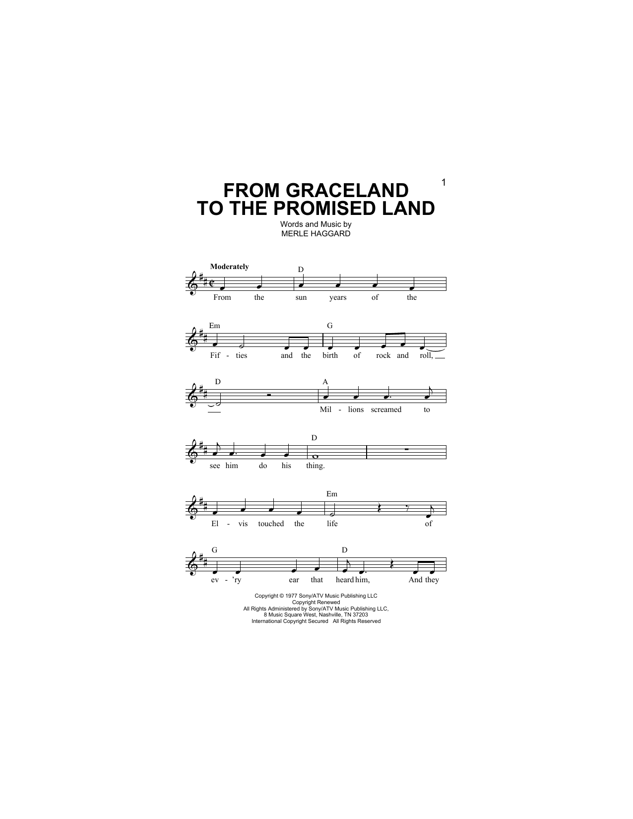 From Graceland To The Promised Land Sheet Music