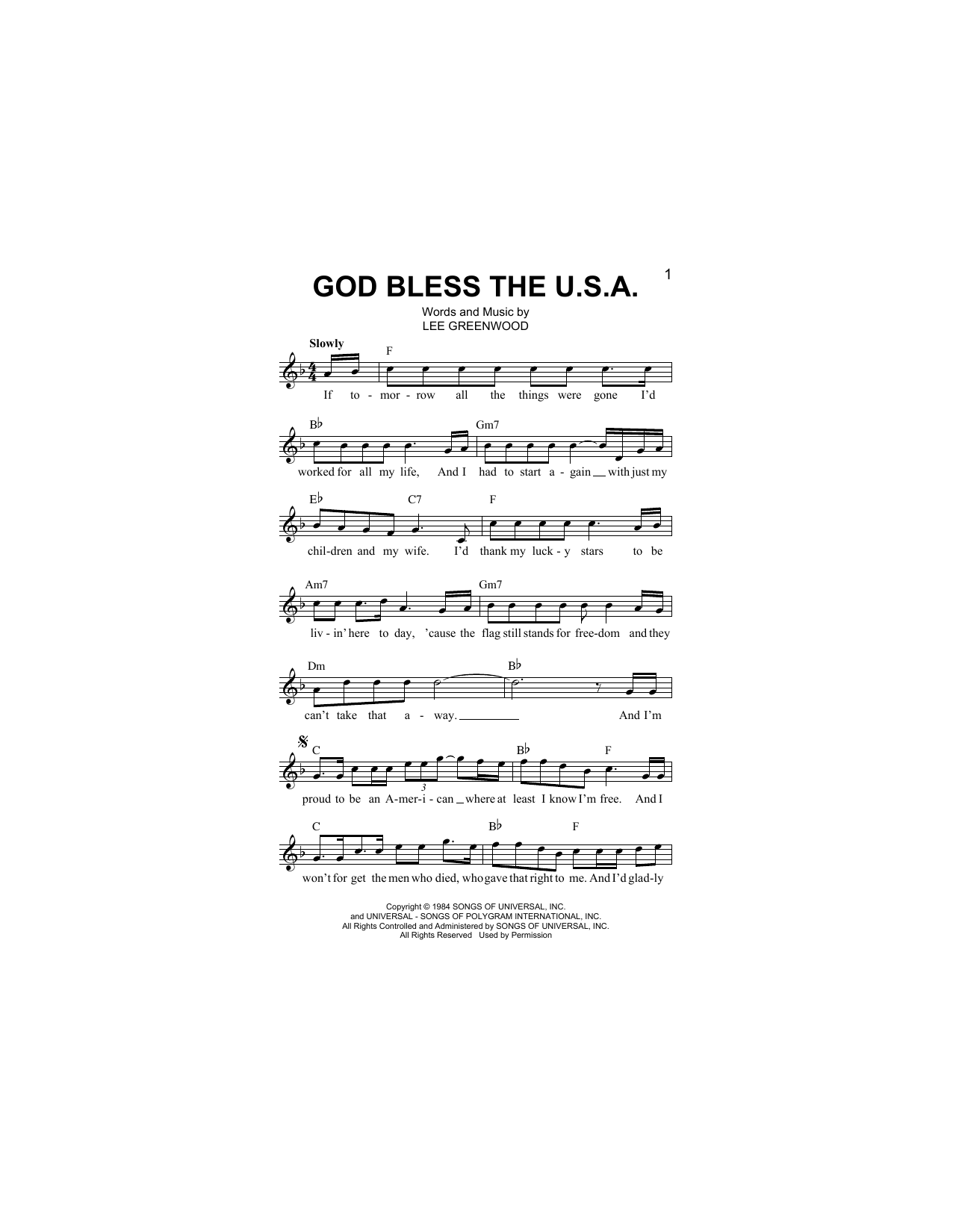 God Bless The U.S.A. Sheet Music