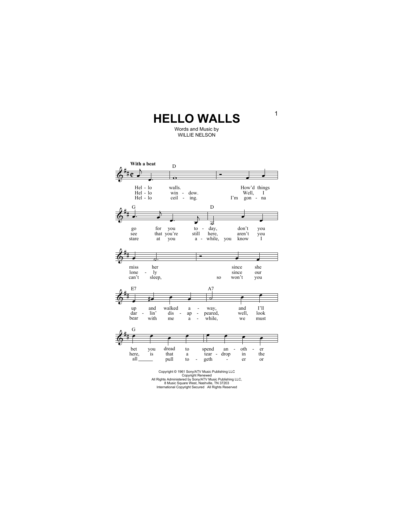 Hello Walls Sheet Music