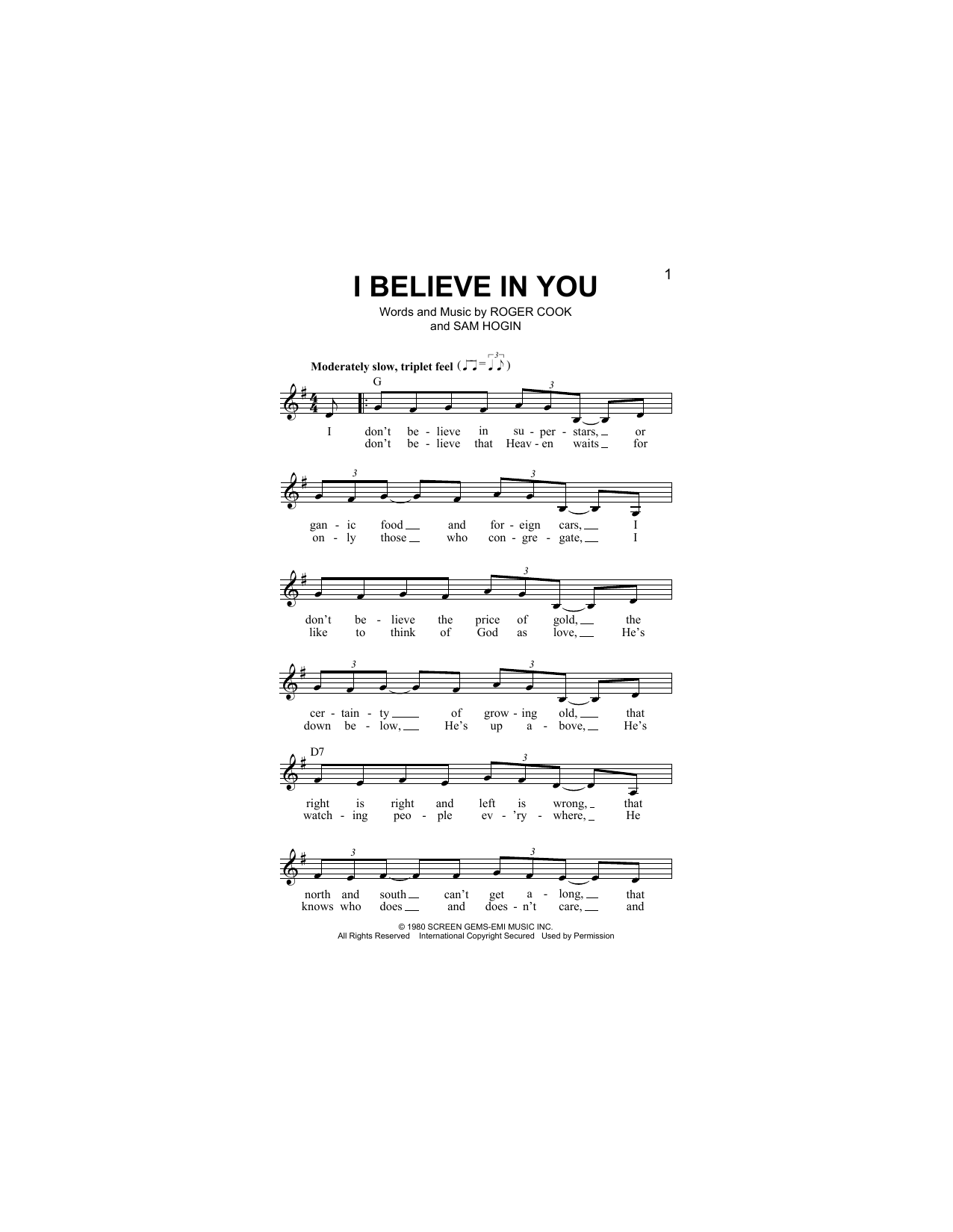 I Believe In You Sheet Music