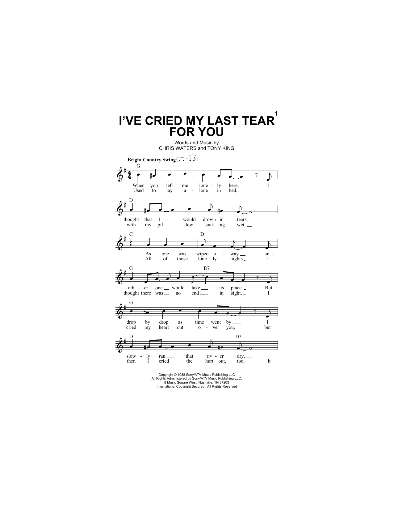 I've Cried My Last Tear For You Sheet Music